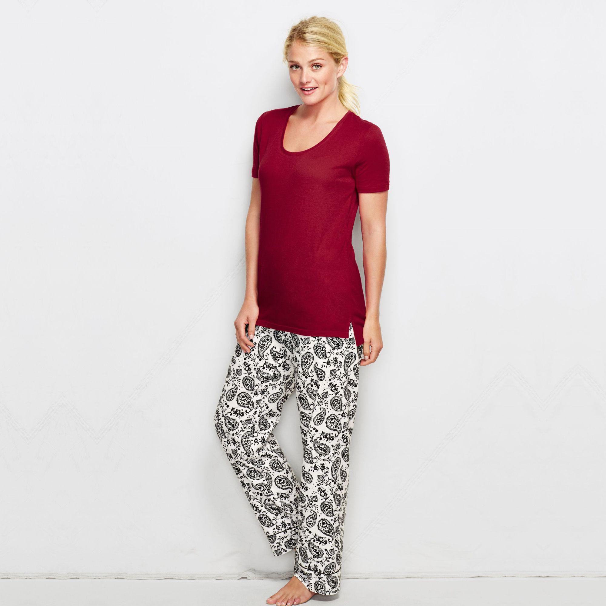 e800c479a0 Lyst - Lands  End Red Regular Cotton modal Short Sleeve Pyjama Top ...
