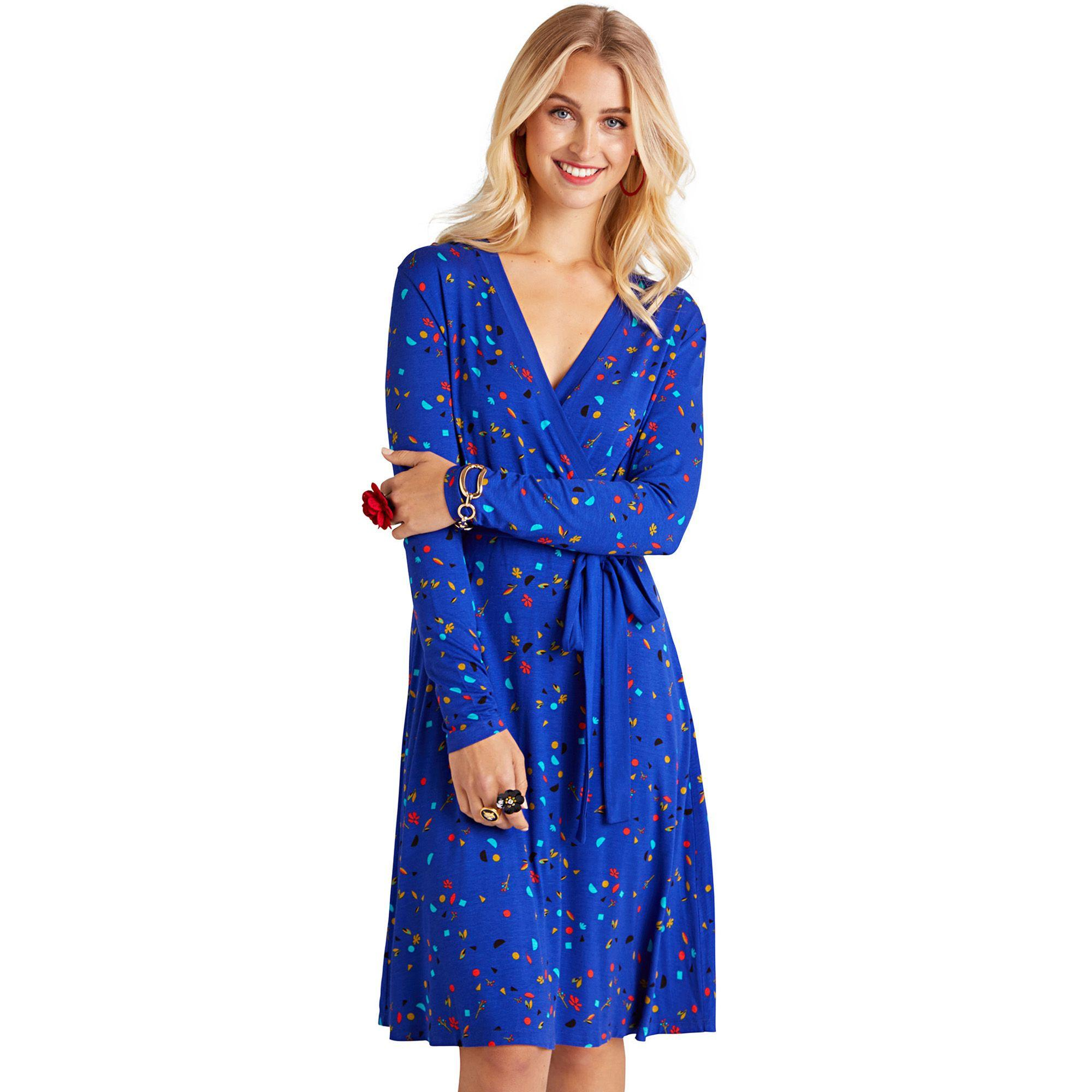 51de4bba13d7 Yumi  Blue Abstract Printed Jersey Wrap Dress in Blue - Lyst