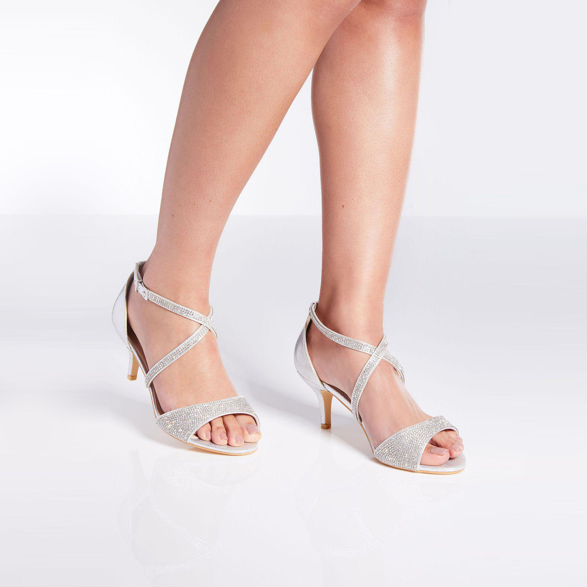 6d39d0968b6d Quiz Wide Fit Silver Shimmer Heeled Sandals in Metallic - Lyst