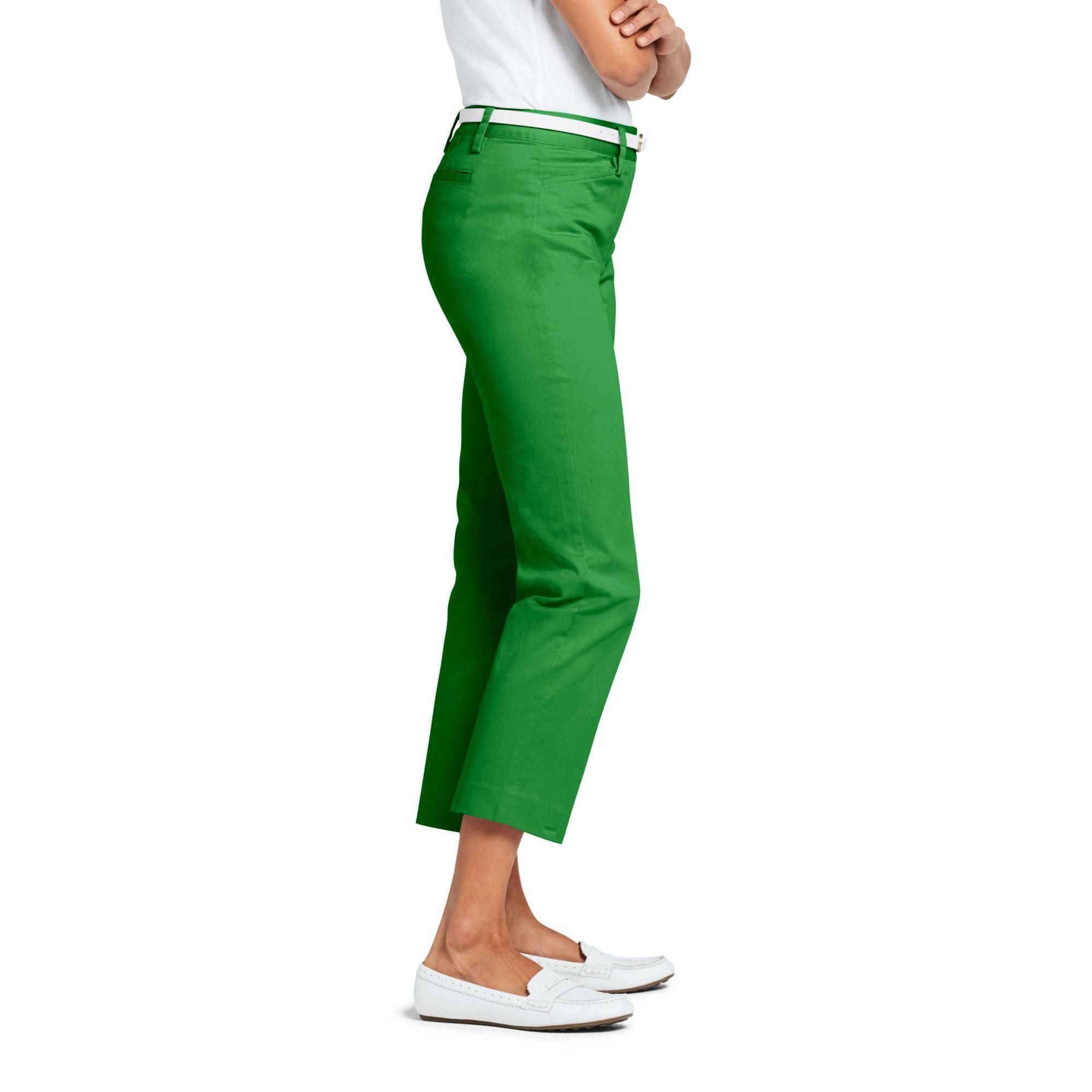 39d09dba71 Lands  End Green Mid Rise Chino Cropped Trousers in Green - Lyst