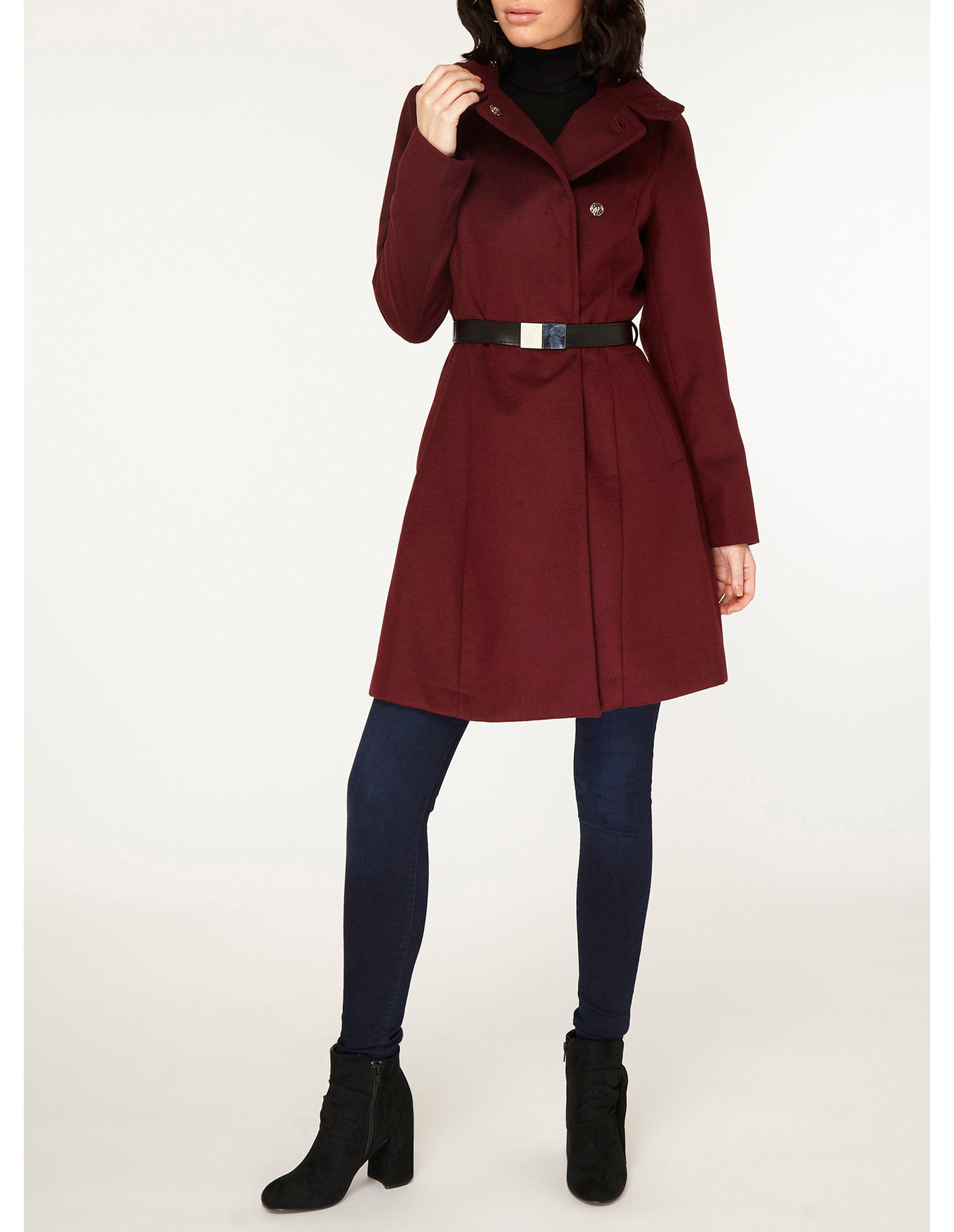 3f4a59ad95c Dorothy Perkins Port Longline Funnel Duster Coat in Red - Save 38% - Lyst