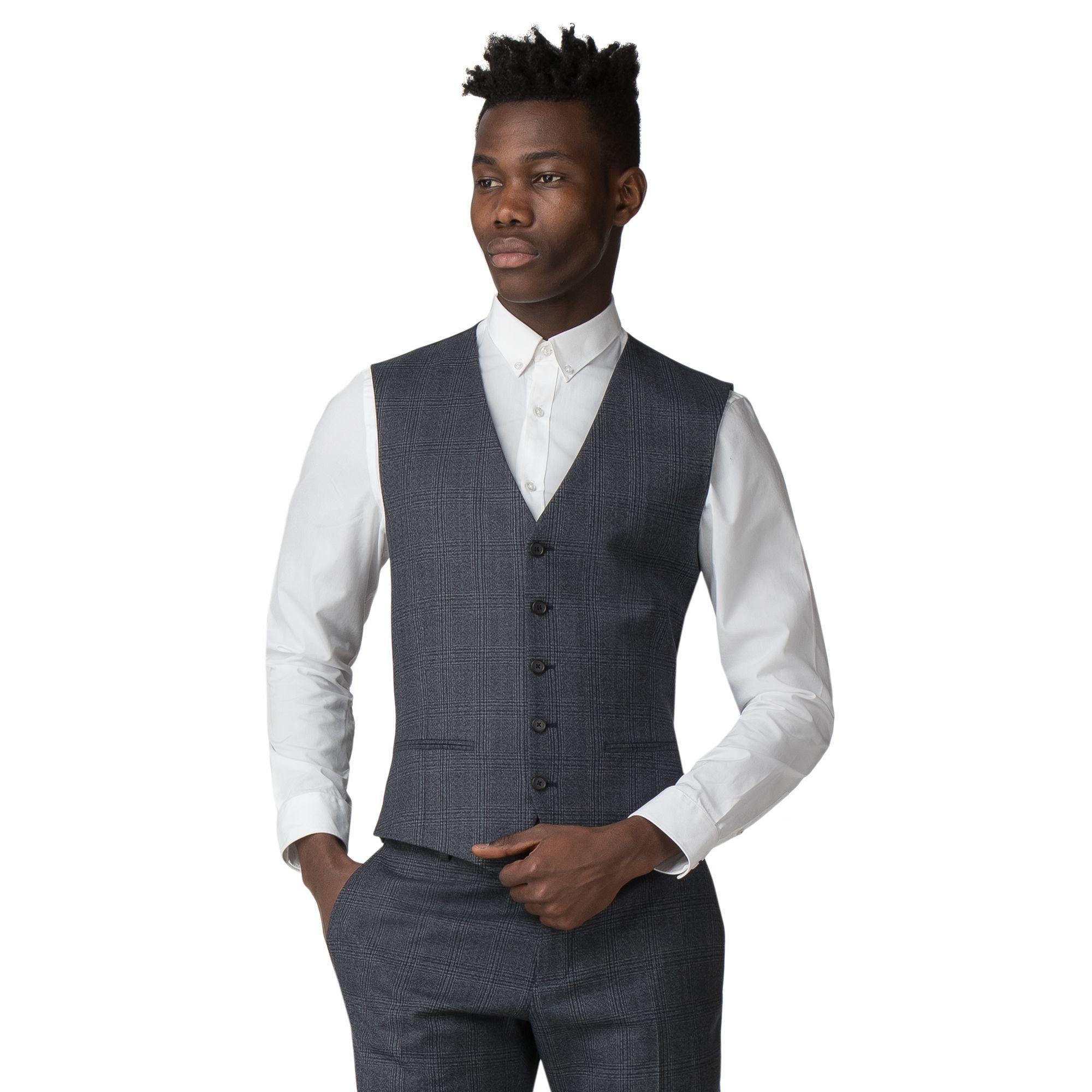 ed7ca589 Red Herring Bright Blue Textured Check Slim Fit Waistcoat in Blue ...