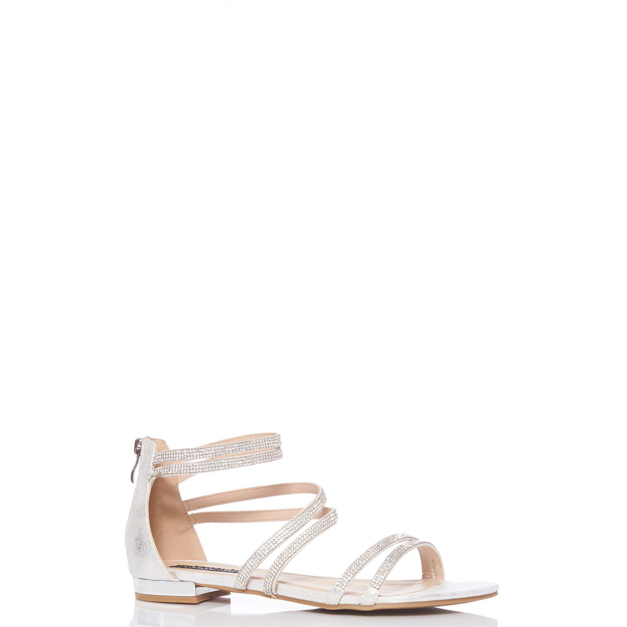 ee3ac92073216 Quiz Silver Diamante Strap Flat Sandals in Metallic - Lyst