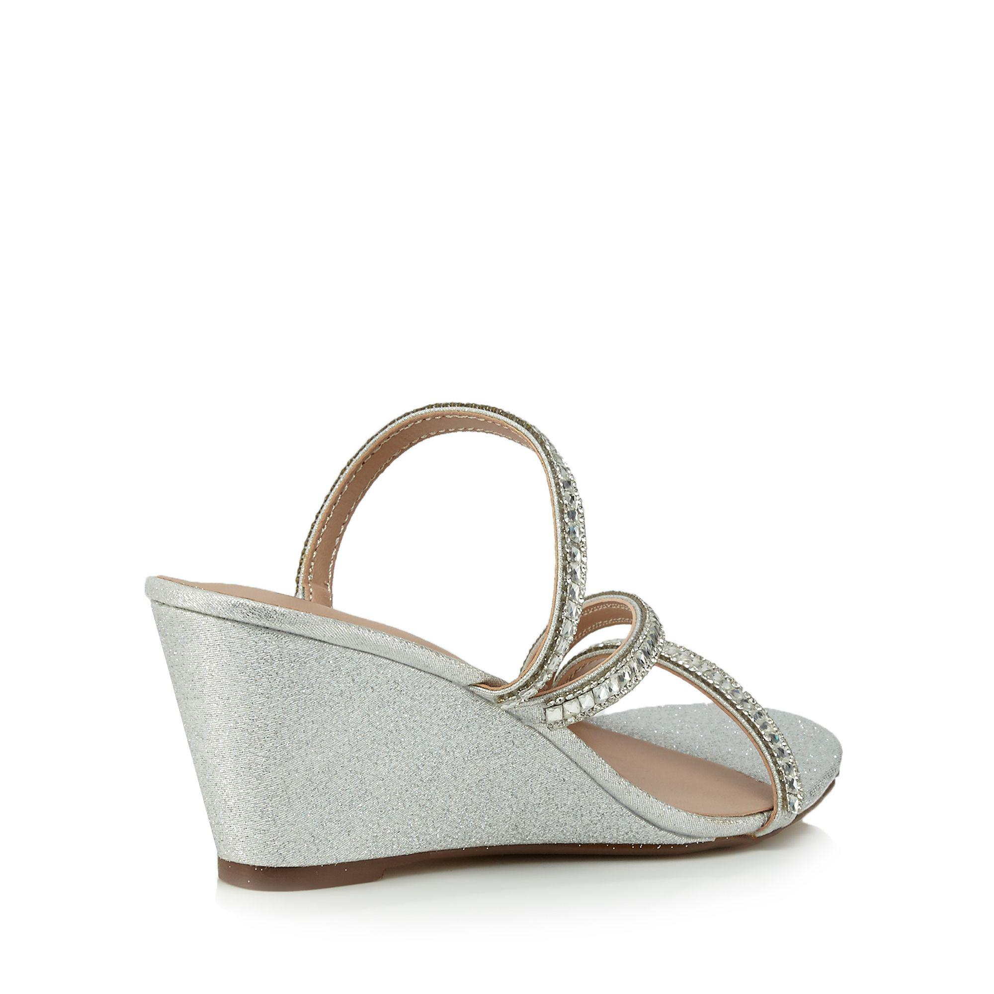 ddec88c6f58 Call It Spring Silver Glittery  froetha  Mid Wedge Heel Mules in ...