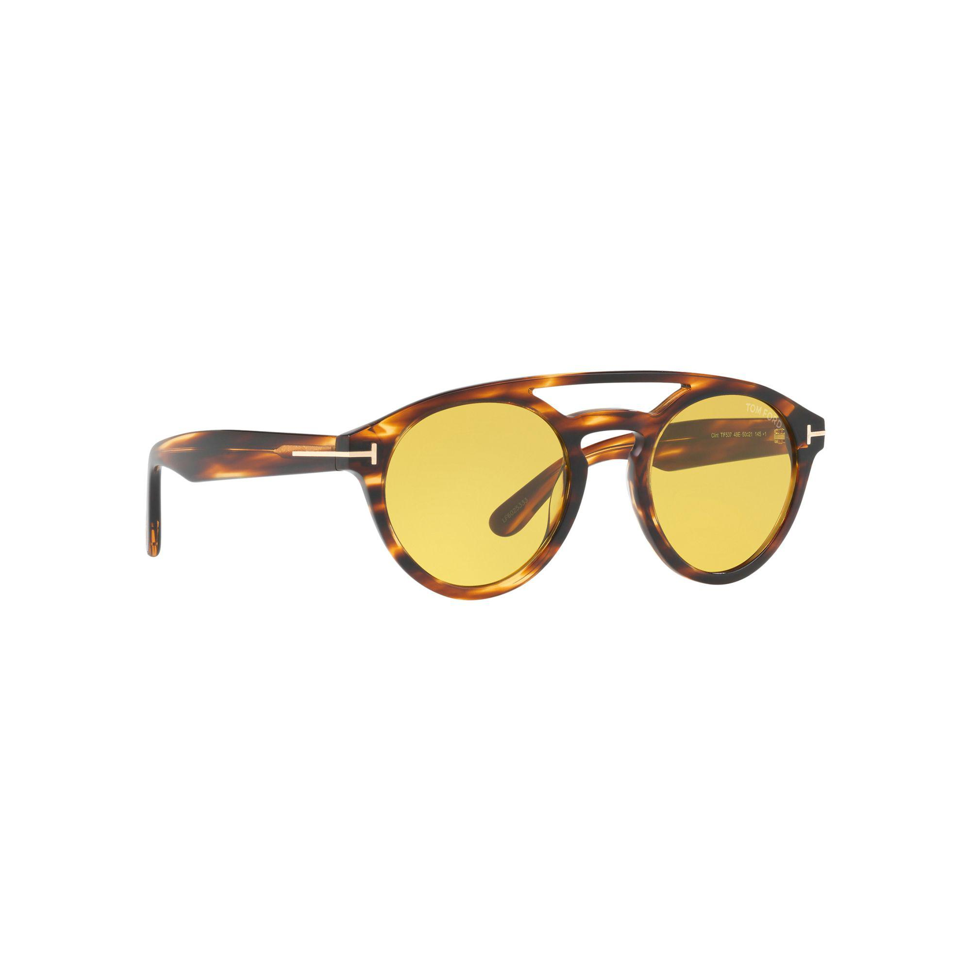 278e8647975b Tom Ford Brown Ft0537 Round Sunglasses in Brown for Men - Lyst