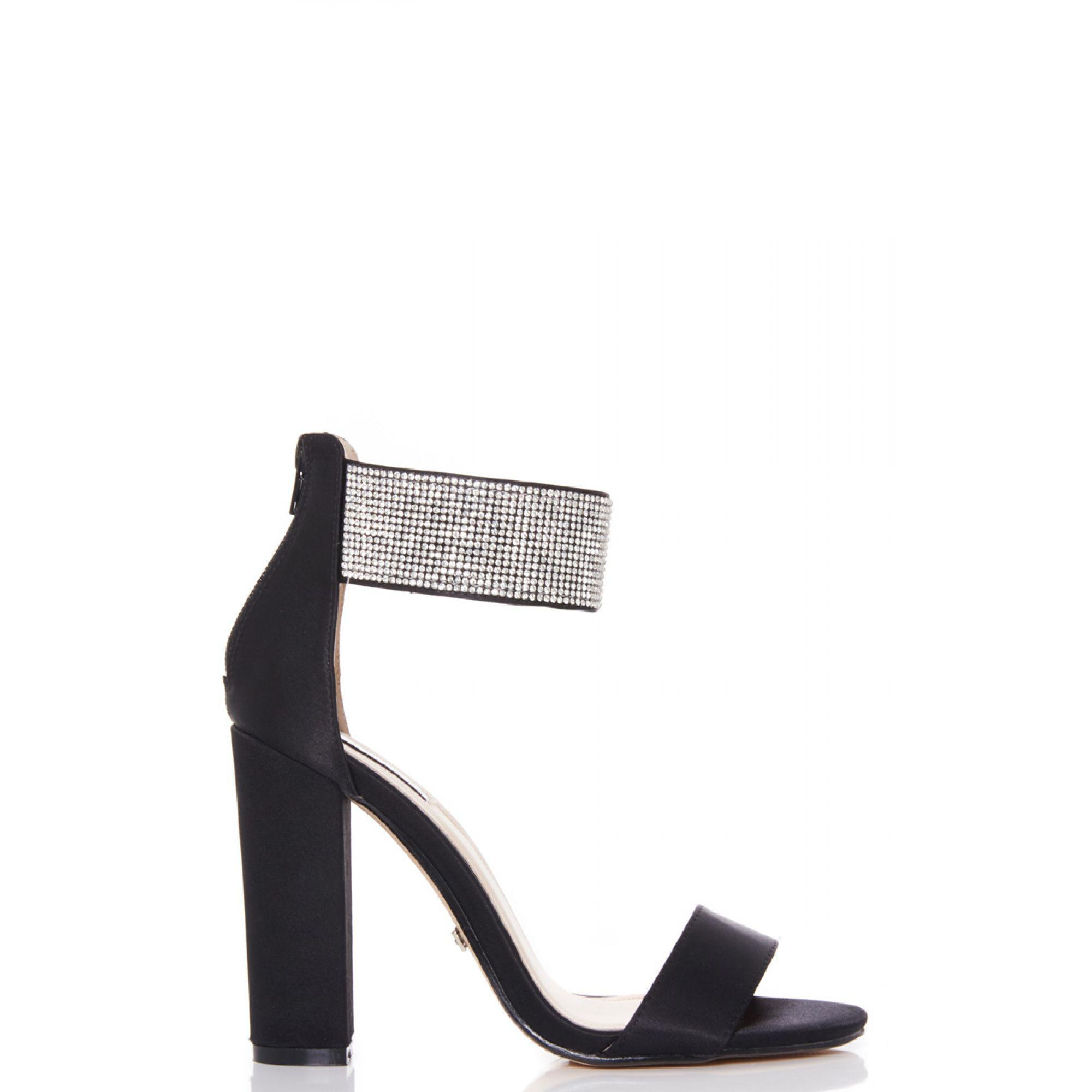 1f866aba448c Quiz Black Diamante Ankle Strap Block Heel Sandals in Black - Lyst