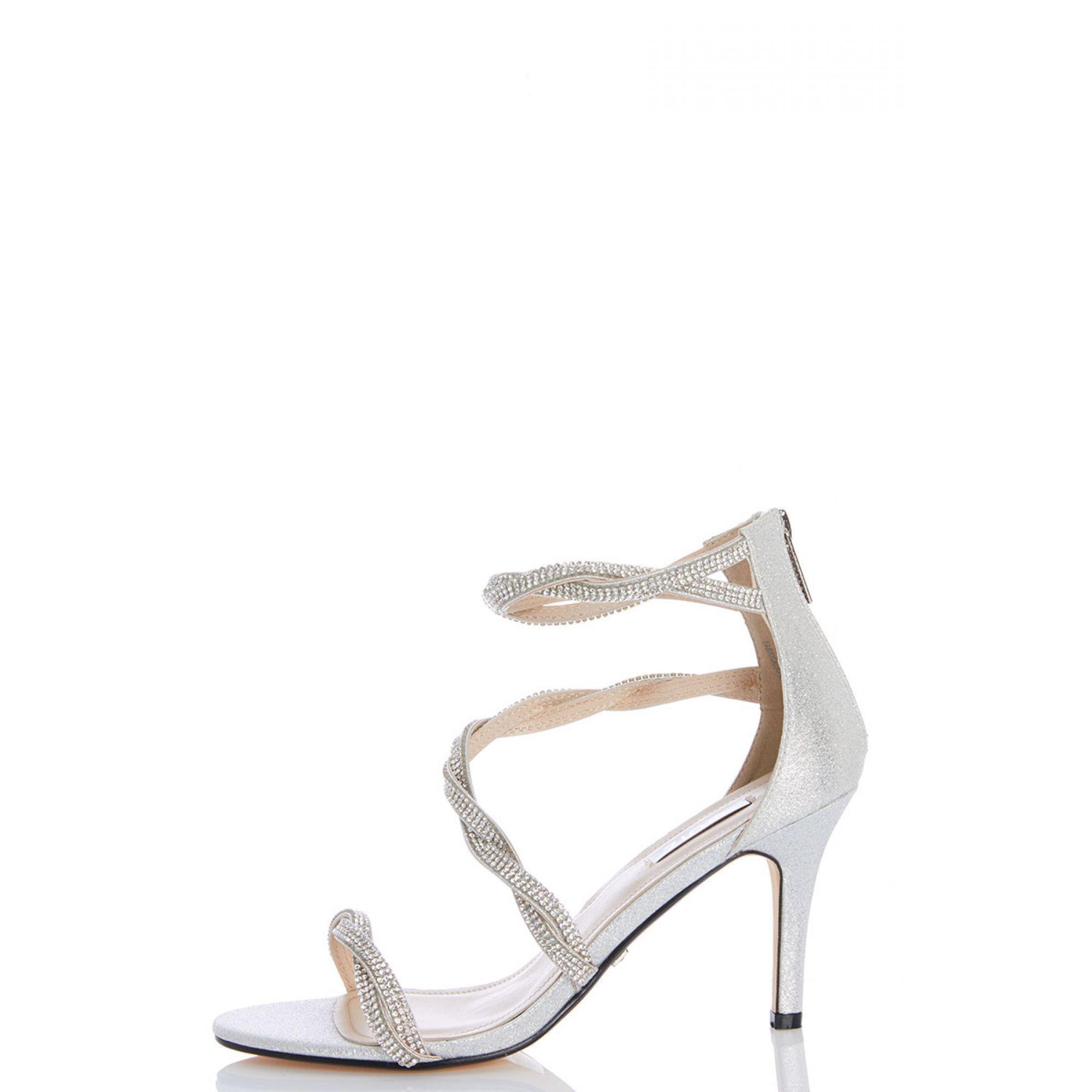 bb437ee0e Quiz Silver Diamante Twist Sandals in Metallic - Lyst