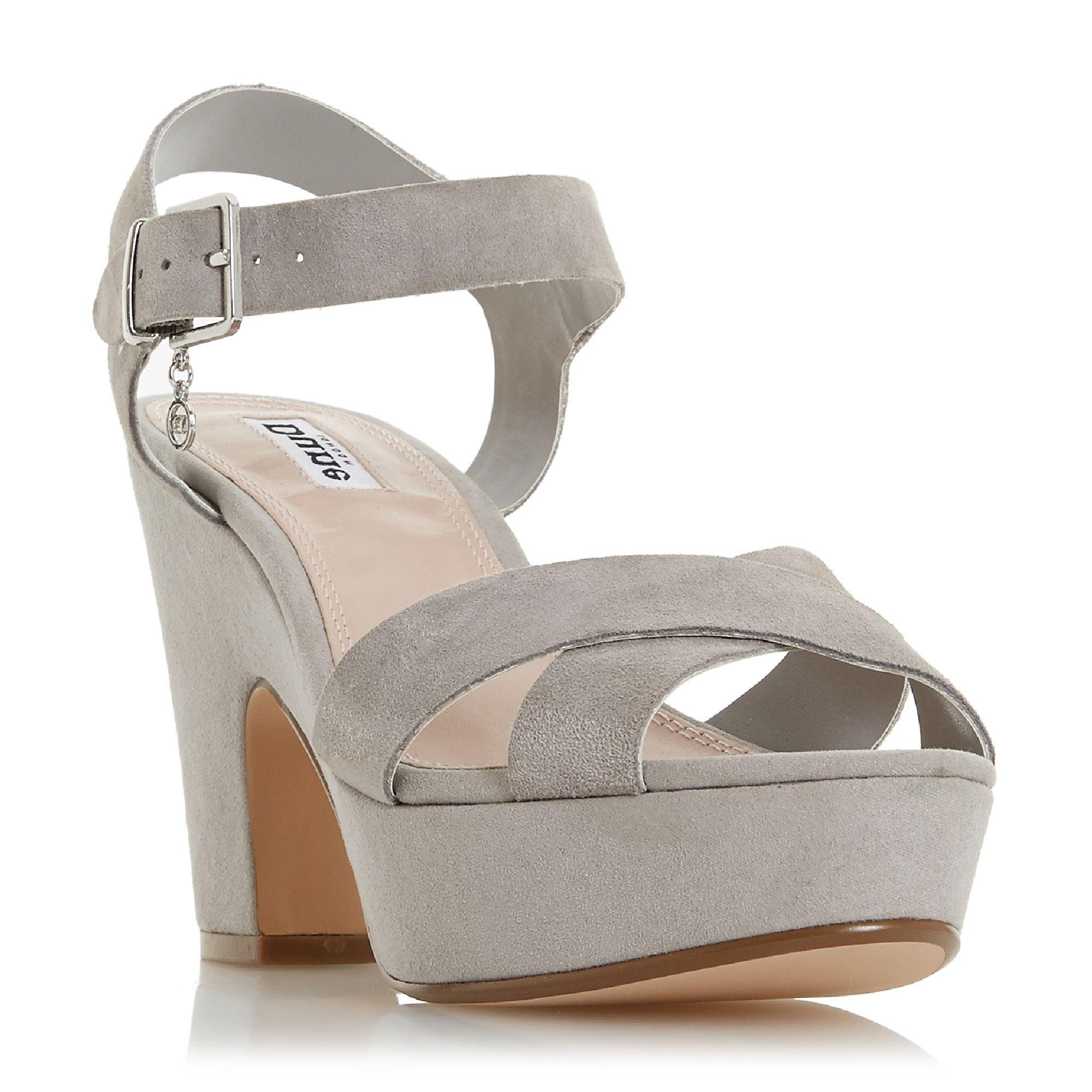 a918f56f13a Dune Grey Suede  iyla  High Block Heel Ankle Strap Sandals in Gray ...