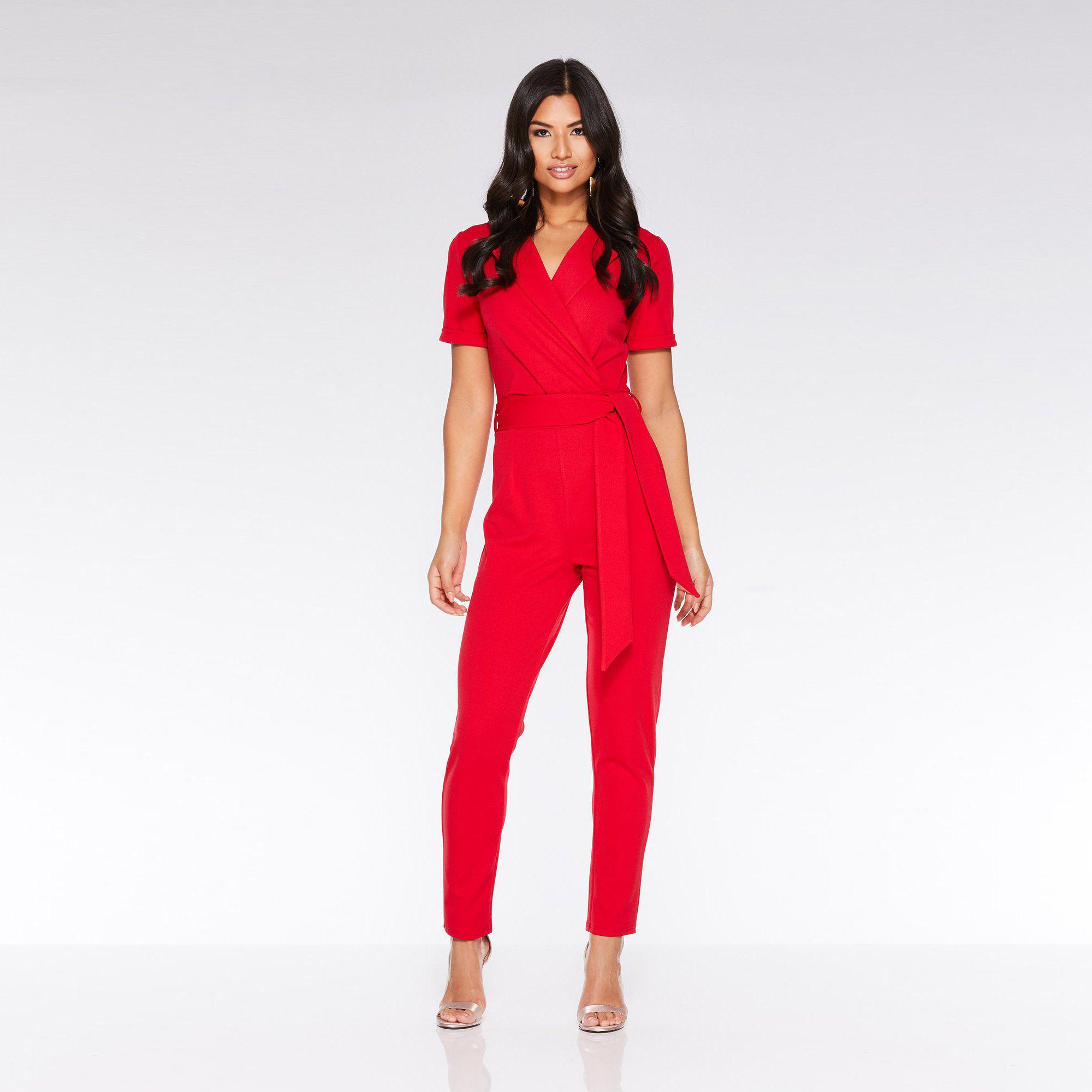 6cfe7df931 Quiz Red Lapel Tie Belt Jumpsuit in Red - Lyst