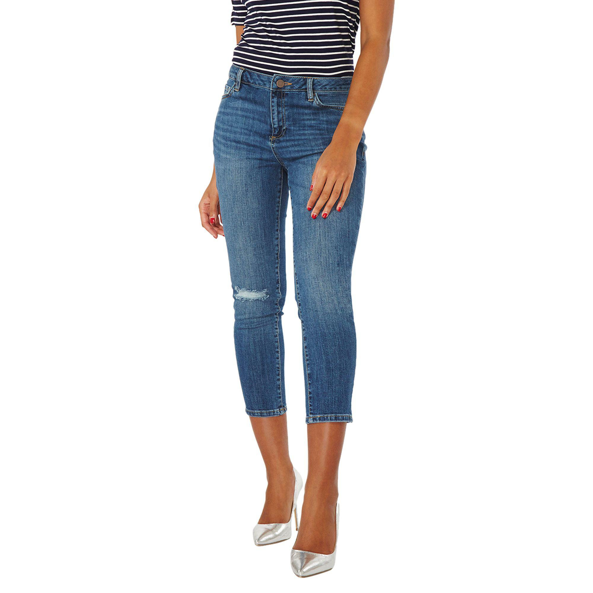 Dorothy Perkins Womens Mid Wash 'Taylor' Cropped Cigarette Jeans- Discount Best Sale Discount Best Quality Outlet Store Cheap For Cheap Visa Payment Sale Online KnAeV0