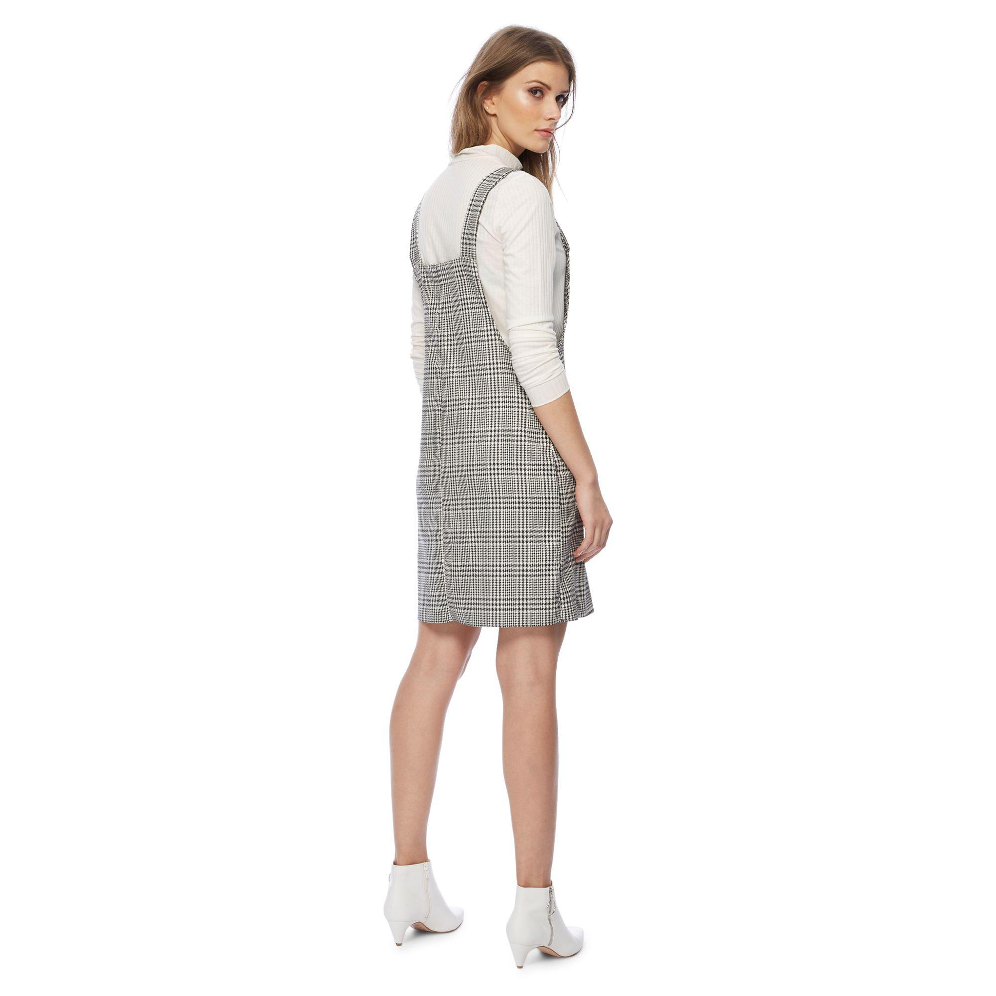 85fabaa6513 Red Herring - Black And White Houndstooth Checked Mini Pinafore Dress - Lyst