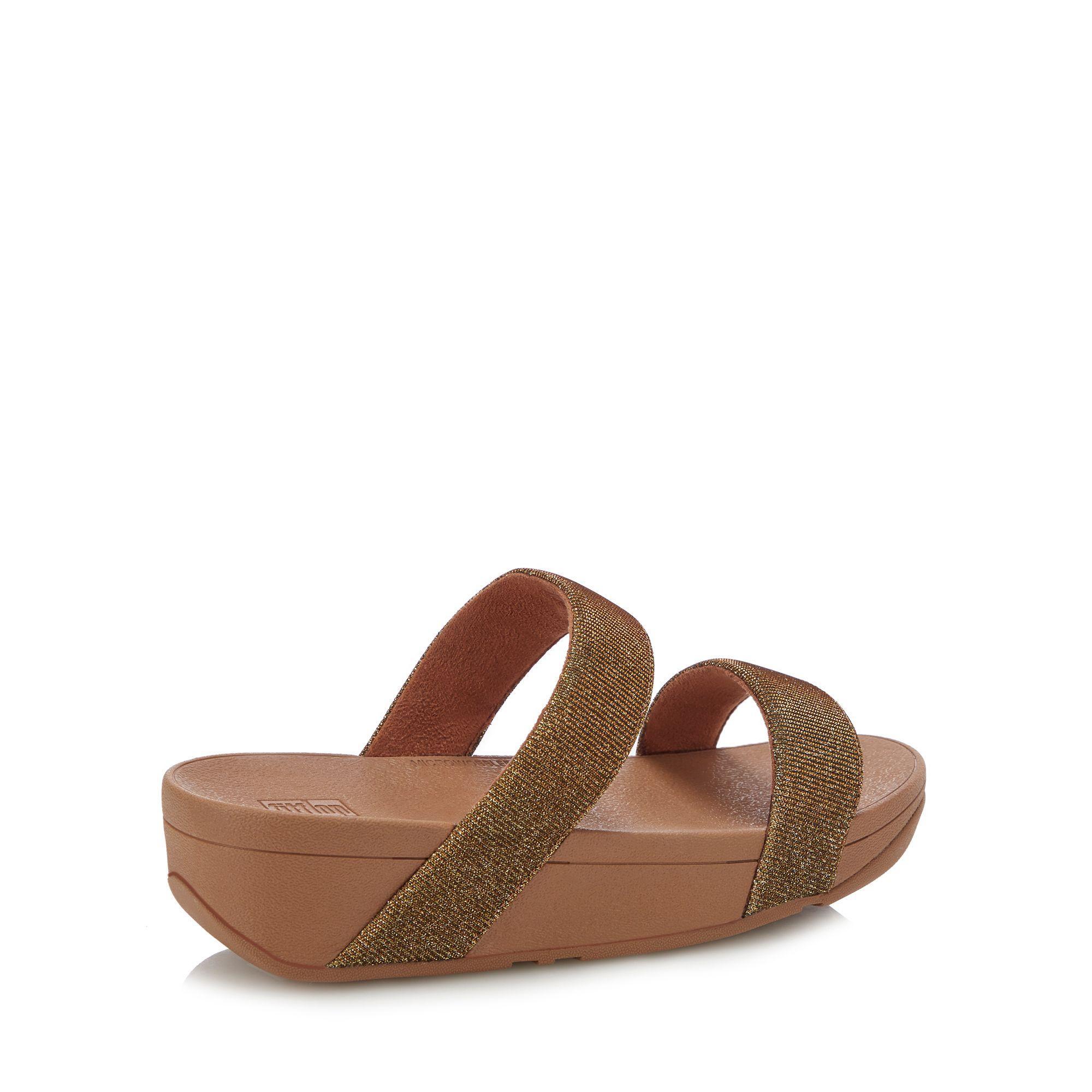 9653d8757c03 Fitflop - Metallic Gold  lottie Glitzy  Wedge Heel Sandals - Lyst. View  fullscreen