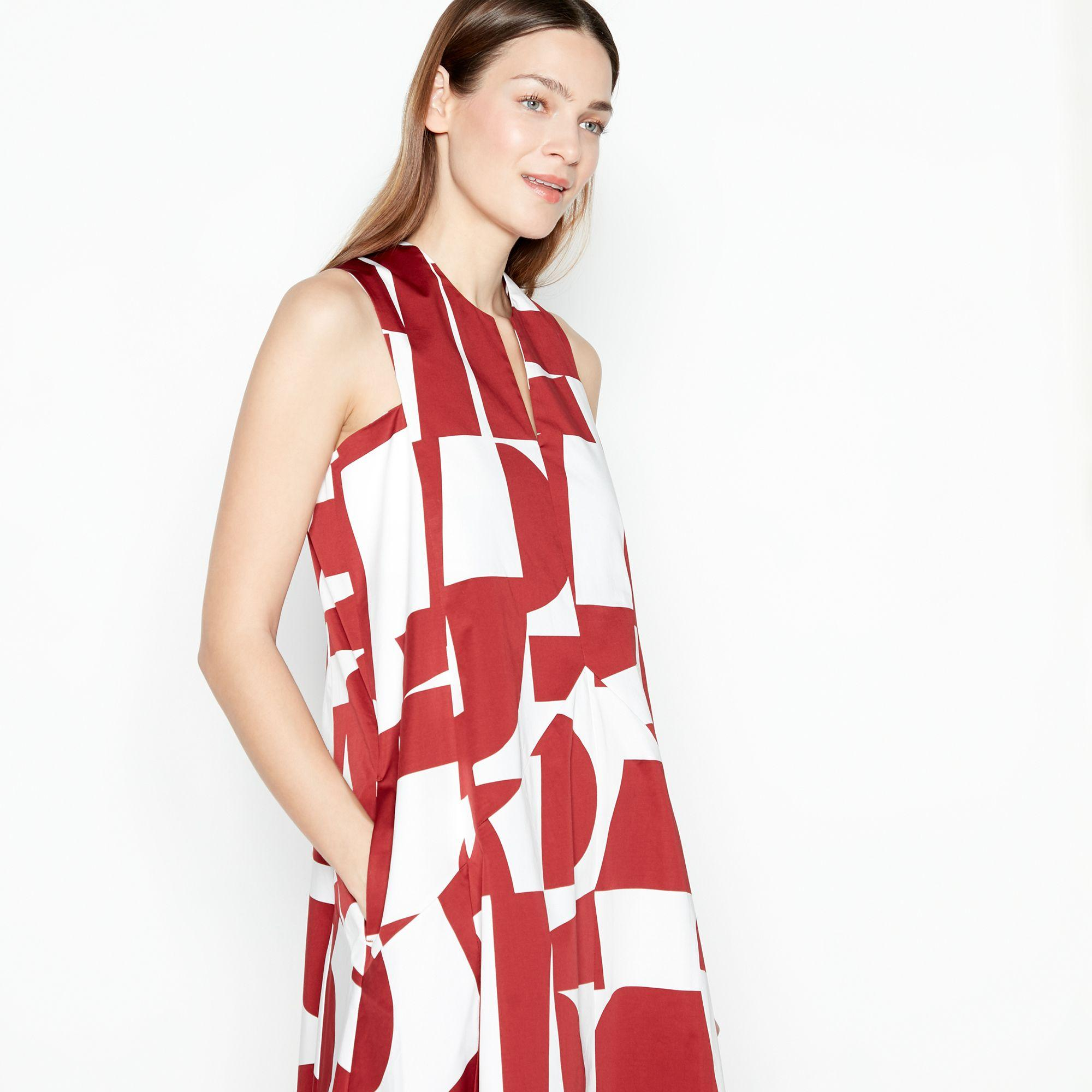 168602e53ced J By Jasper Conran - Red Abstract Print Midi Dress - Lyst. View fullscreen