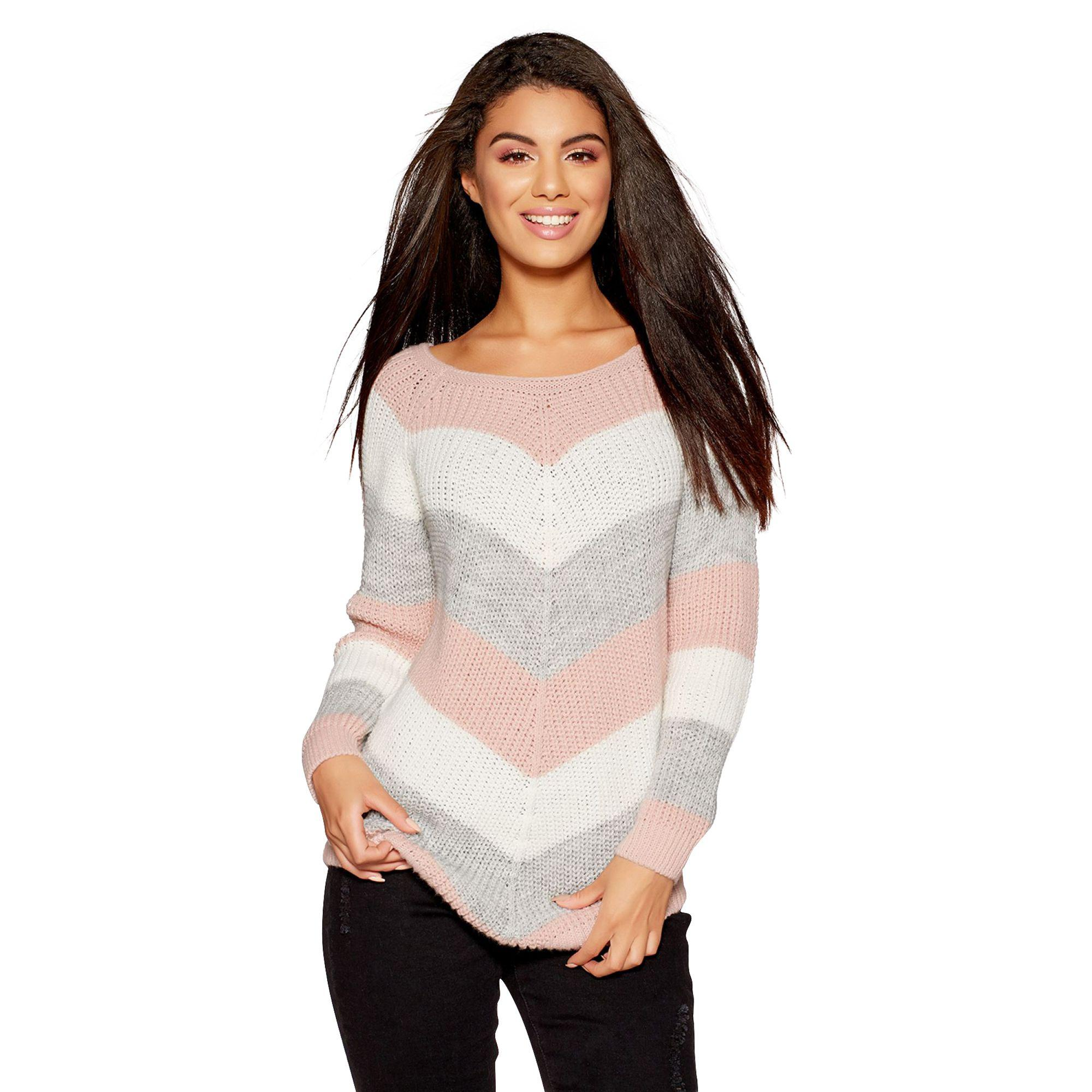 4e651e2aa Quiz Pink Cream And Grey Stripe Knitted Jumper in Pink - Lyst