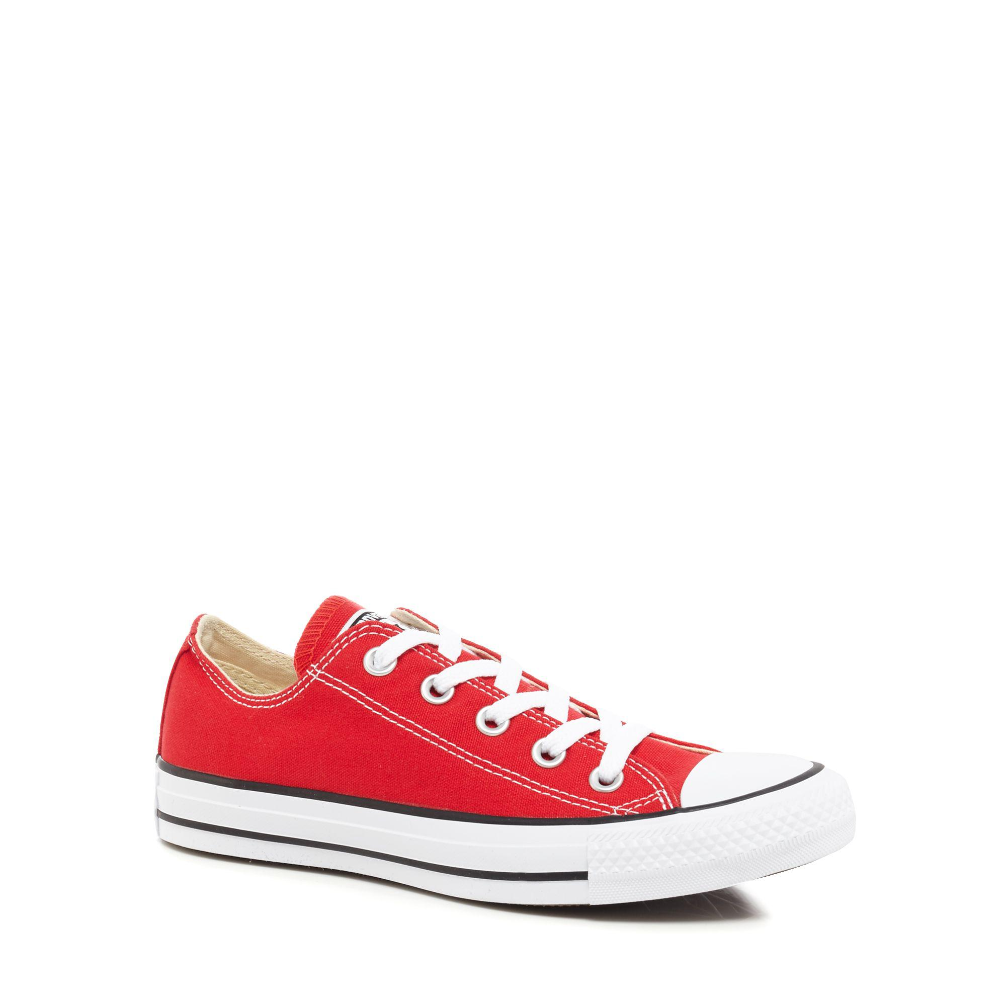9abae66d3888 Converse Red Canvas  all Star  Lace Up Shoes in Red - Lyst
