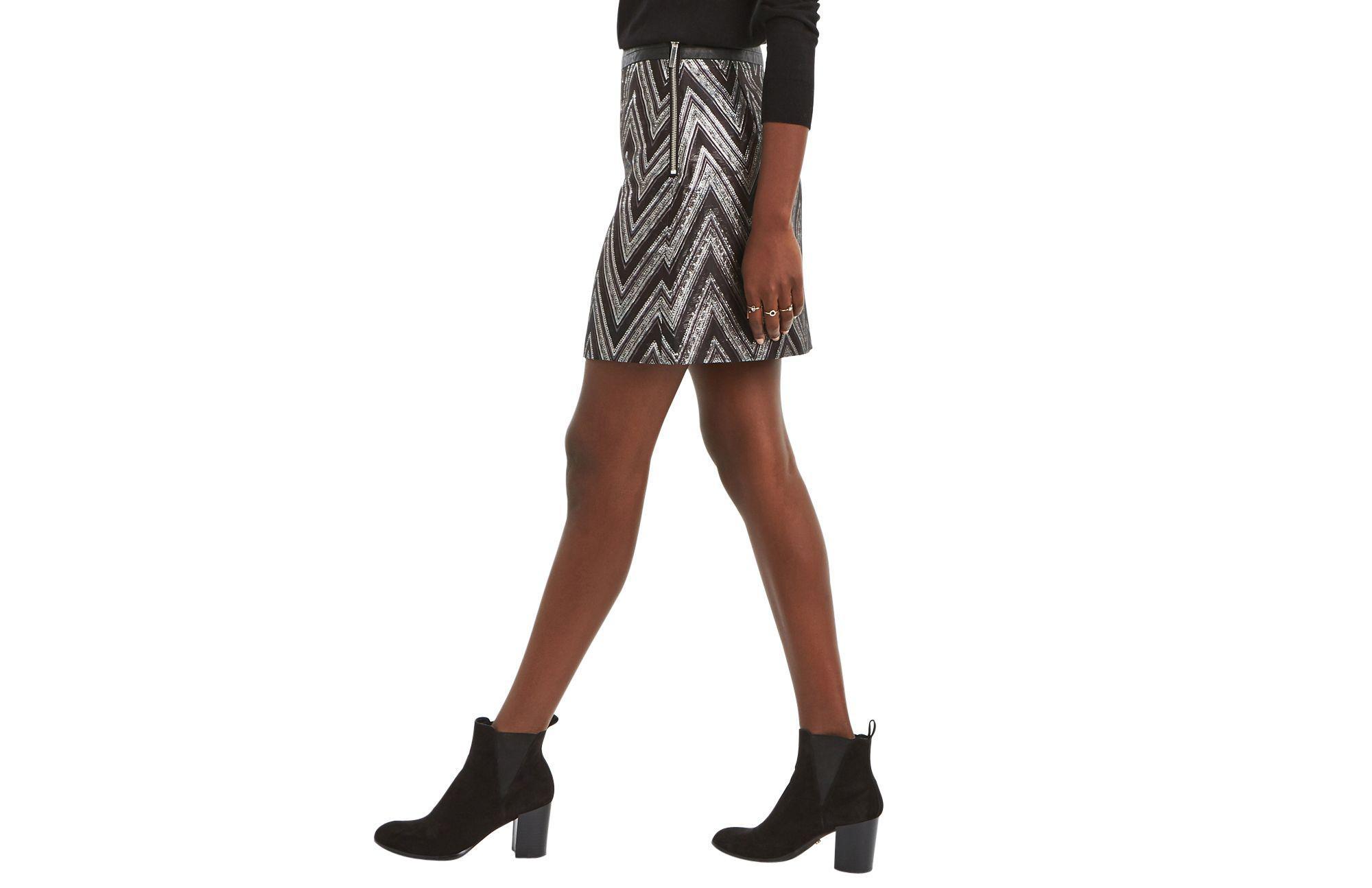 ce3d1a35e01e Oasis Multi Silver Zigzag Jacquard Marley Mini Skirt in Black - Lyst