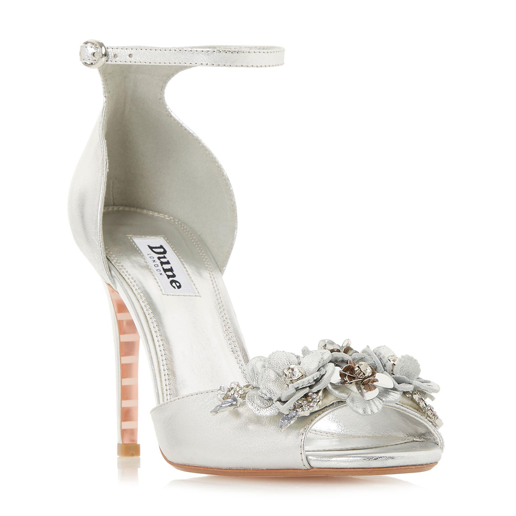 08f29473107 Dune Silver Leather  meadowe  High Stiletto Heel Ankle Strap Sandals ...