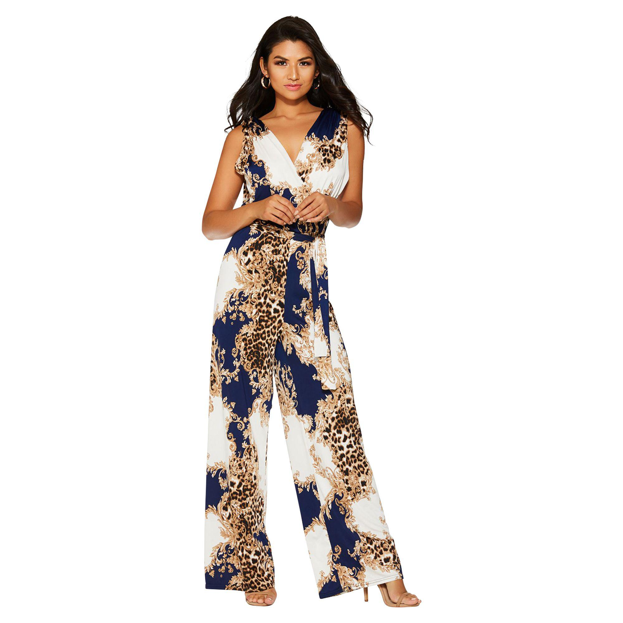 71bb9ec7489 Quiz Cream And Navy Leopard Print Jumpsuit in Blue - Lyst