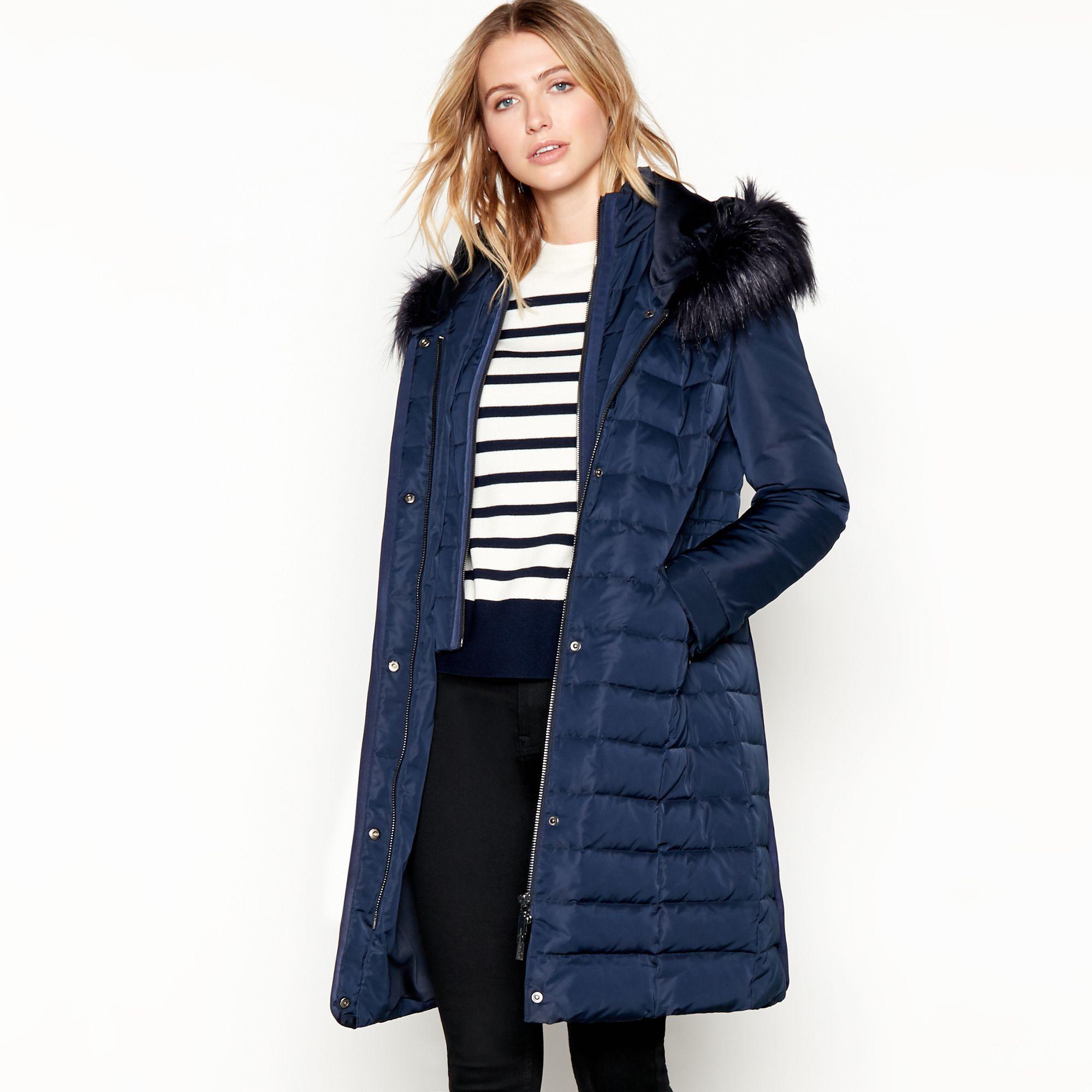 3d0d847ea J By Jasper Conran Navy 'glam' Faux Fur Hooded Drawstring Waist ...