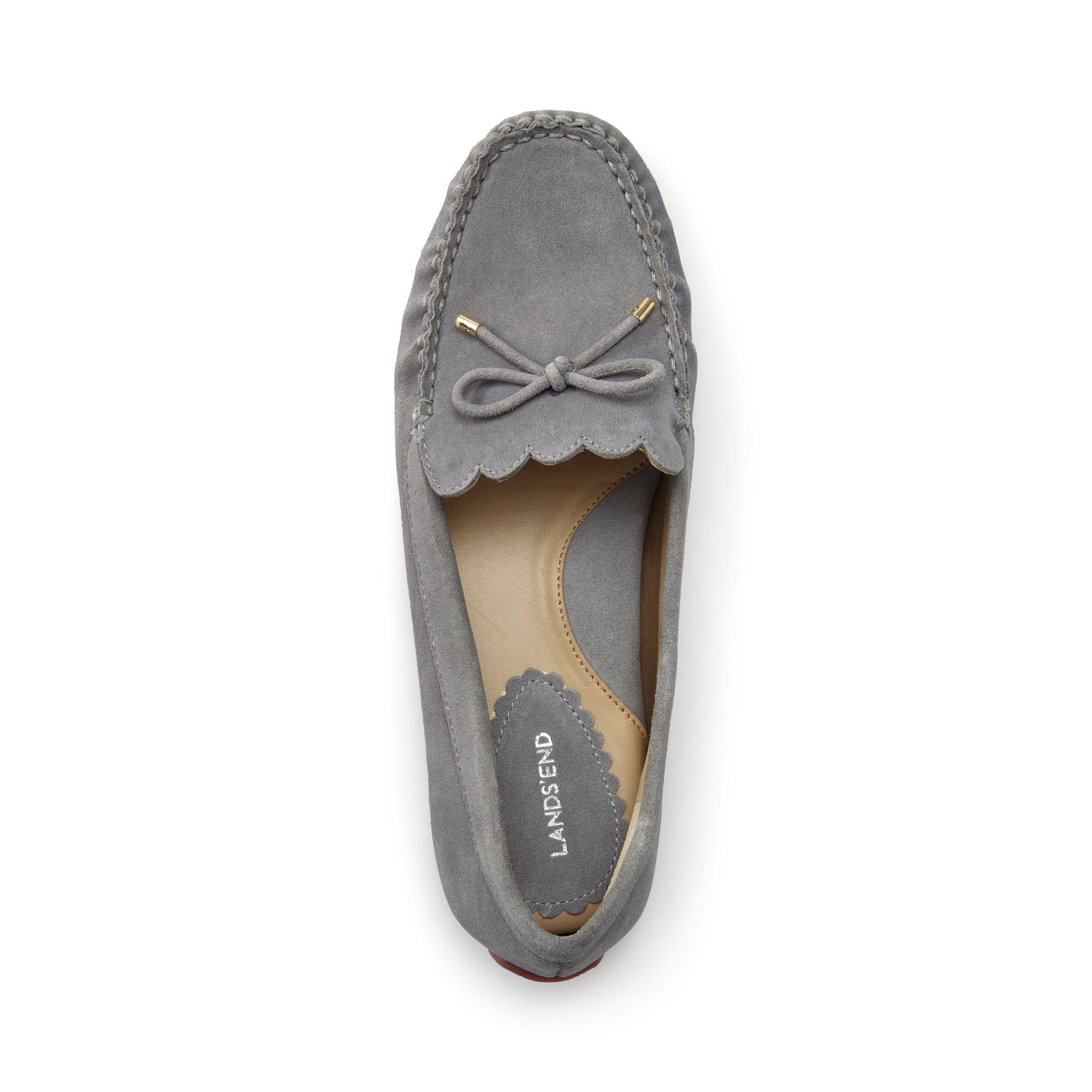 6e89d140b59c Lands' End Grey Wide Scalloped Driving Shoes in Gray - Save 16% - Lyst