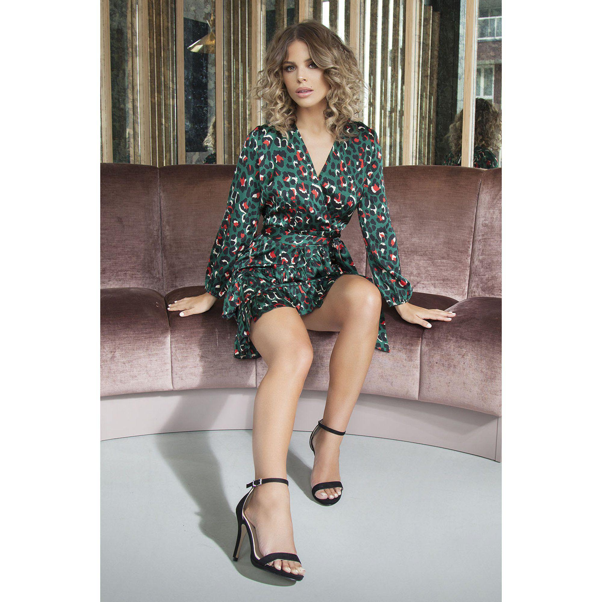 97ae6c679467 Quiz Towie Green And Orange Satin Leopard Print Wrap Dress in Green ...