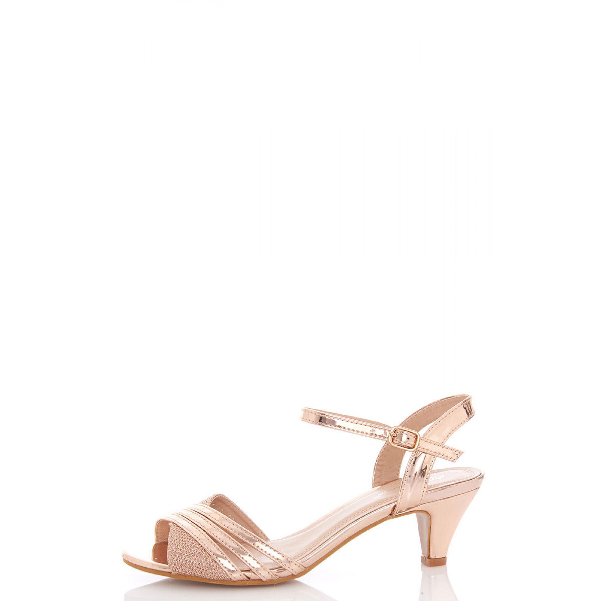 53b362dd766 Quiz - Rose Gold Metallic Strap Low Heel Sandals - Lyst. View fullscreen