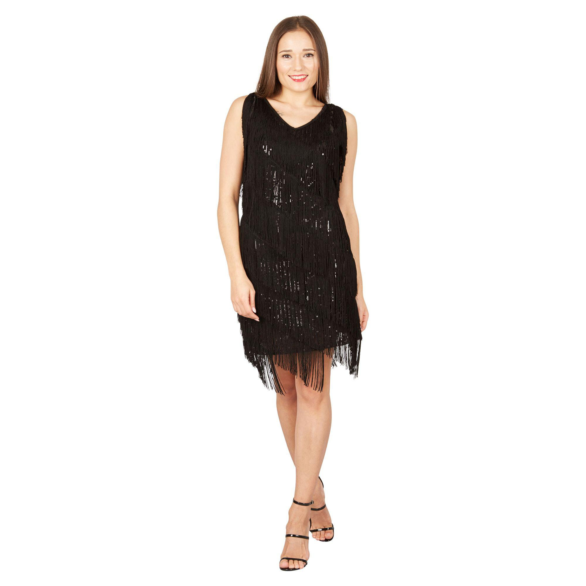 c836ce347e1 Izabel London Black Fringe Flapper Dress in Black - Lyst