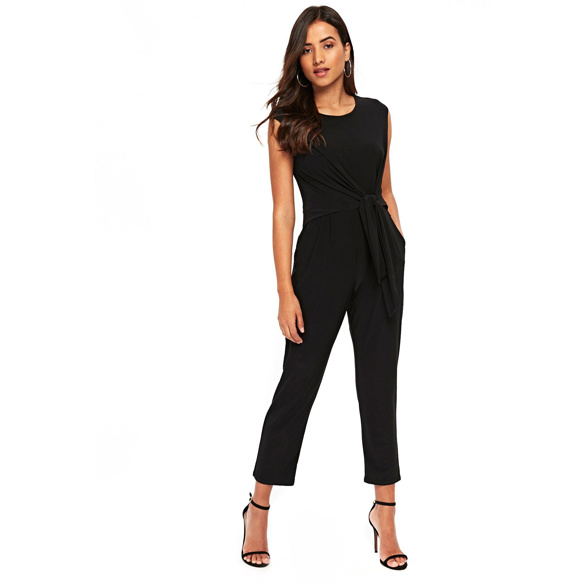 0e9f8d5df47a Wallis Petite Black Tie Side Jumpsuit in Black - Lyst