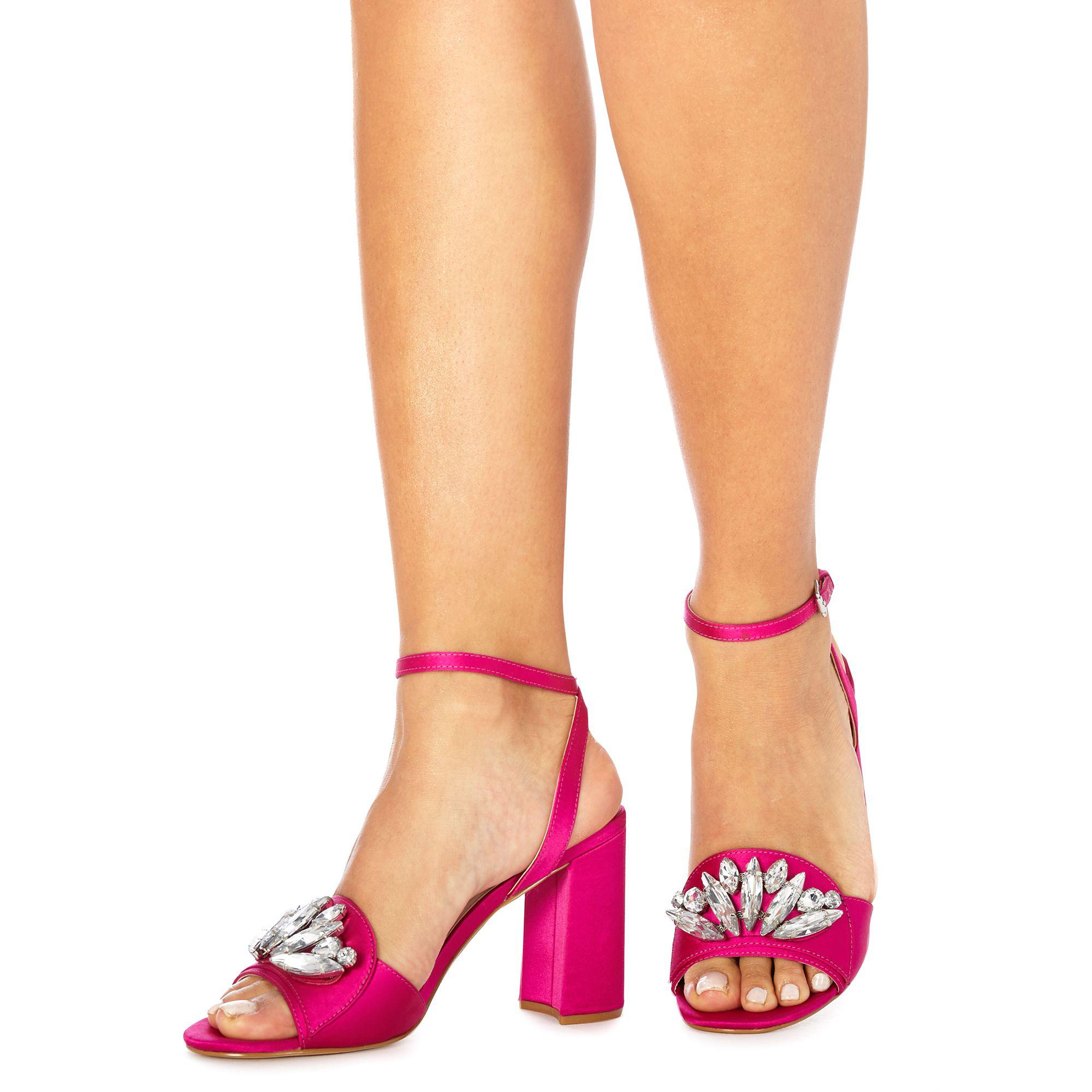 9ab7d0a207d Faith Pink Satin  dec  High Block Heel Ankle Strap Sandals in Pink ...