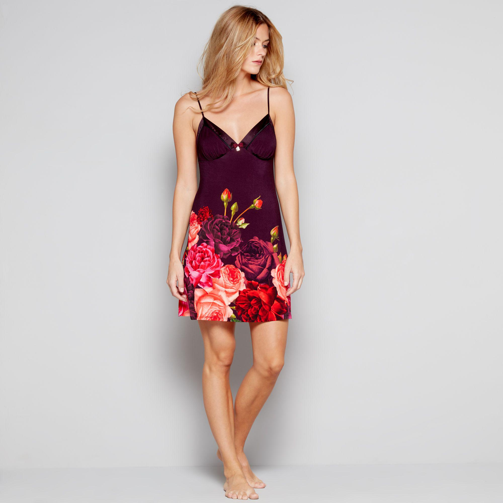 8e08f02f5 Ted Baker Purple Floral Print Satin Trim  juxtapose Rose  Chemise in ...