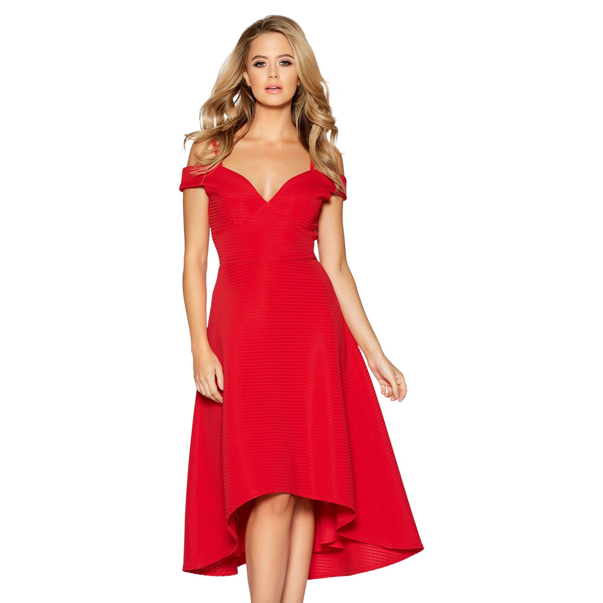 ce5f6768d9 Quiz Red Sweetheart Neck Strappy Bardot Dress in Red - Lyst