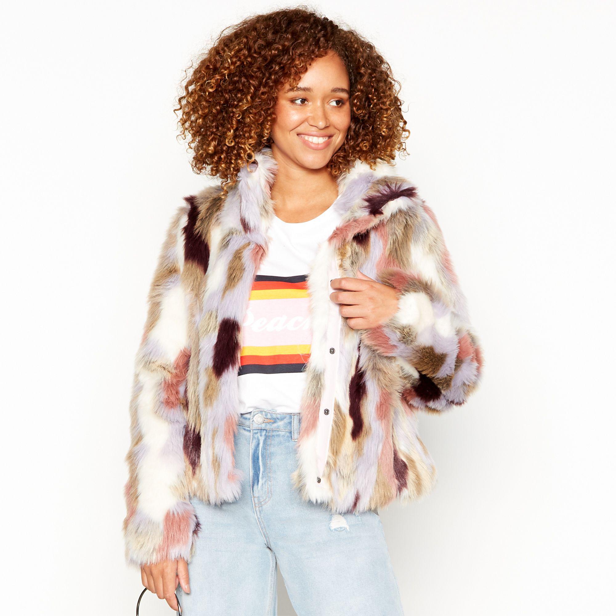 a10f2608dc7 Vila Multicoloured 'viveria' Faux Fur Jacket - Lyst