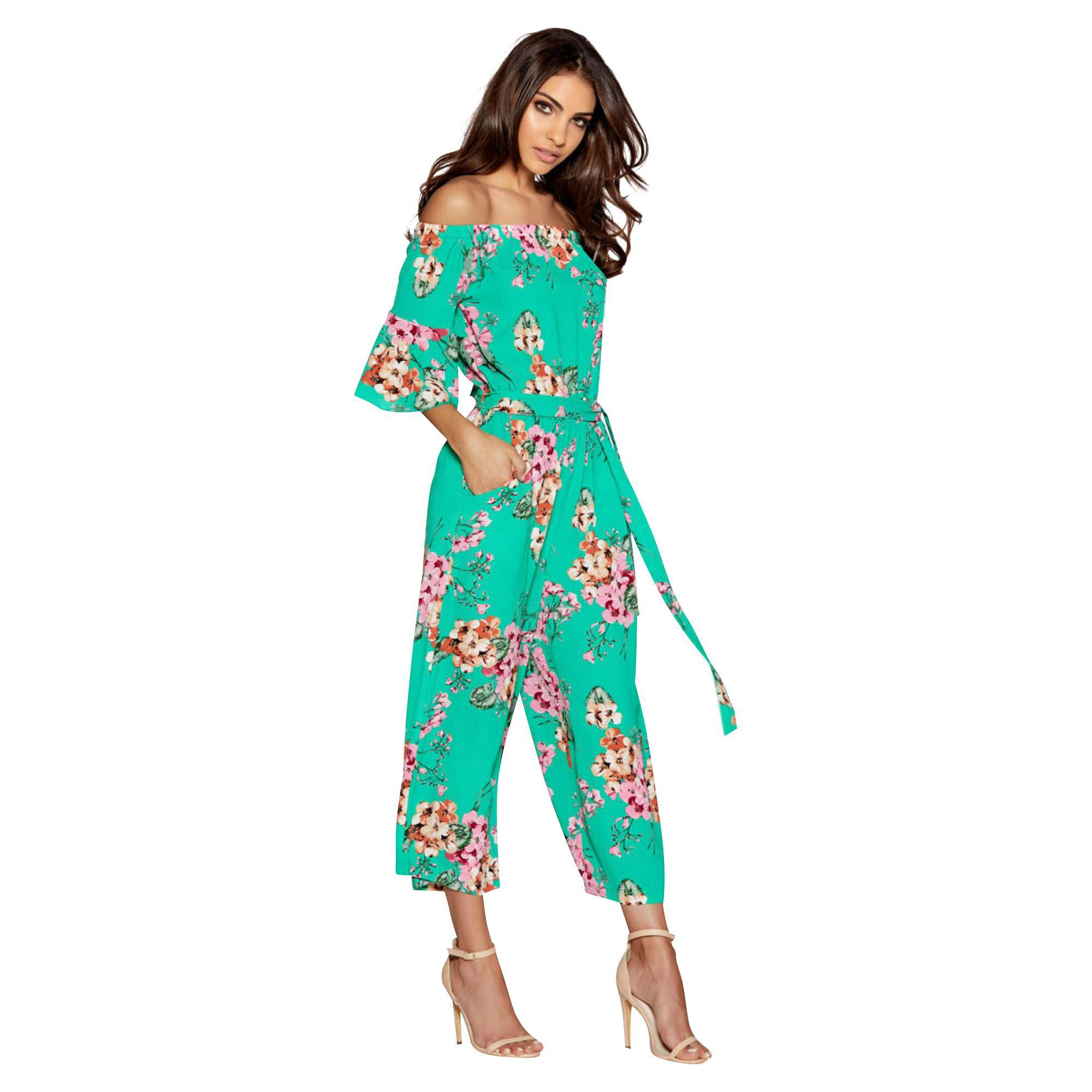 2699020a0b32 Quiz Green And Pink Floral Print Frill Sleeve Culotte Jumpsuit in ...
