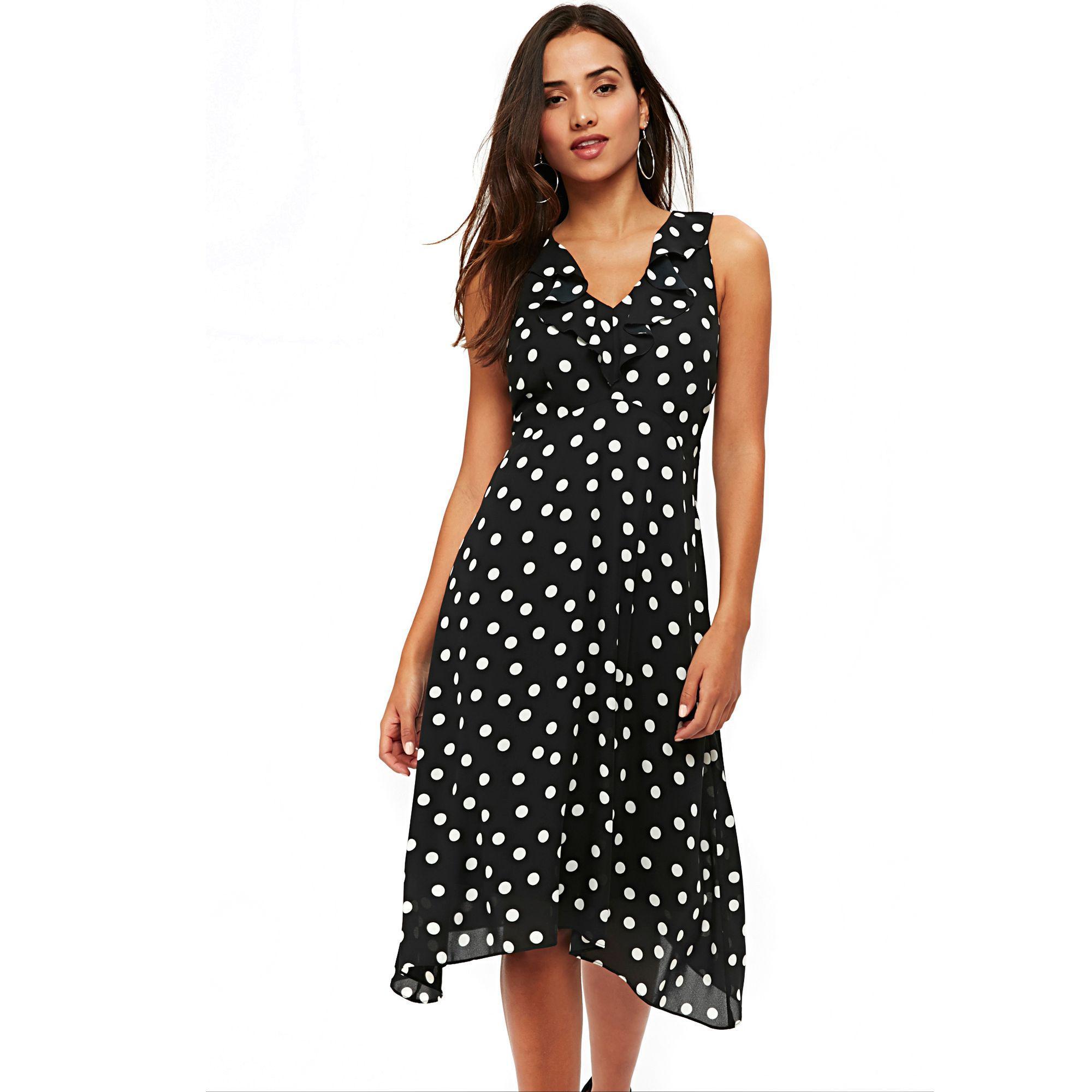 aba44b915408 Wallis Petite Black Polka Dot Midi Fit And Flare Dress in Black - Lyst