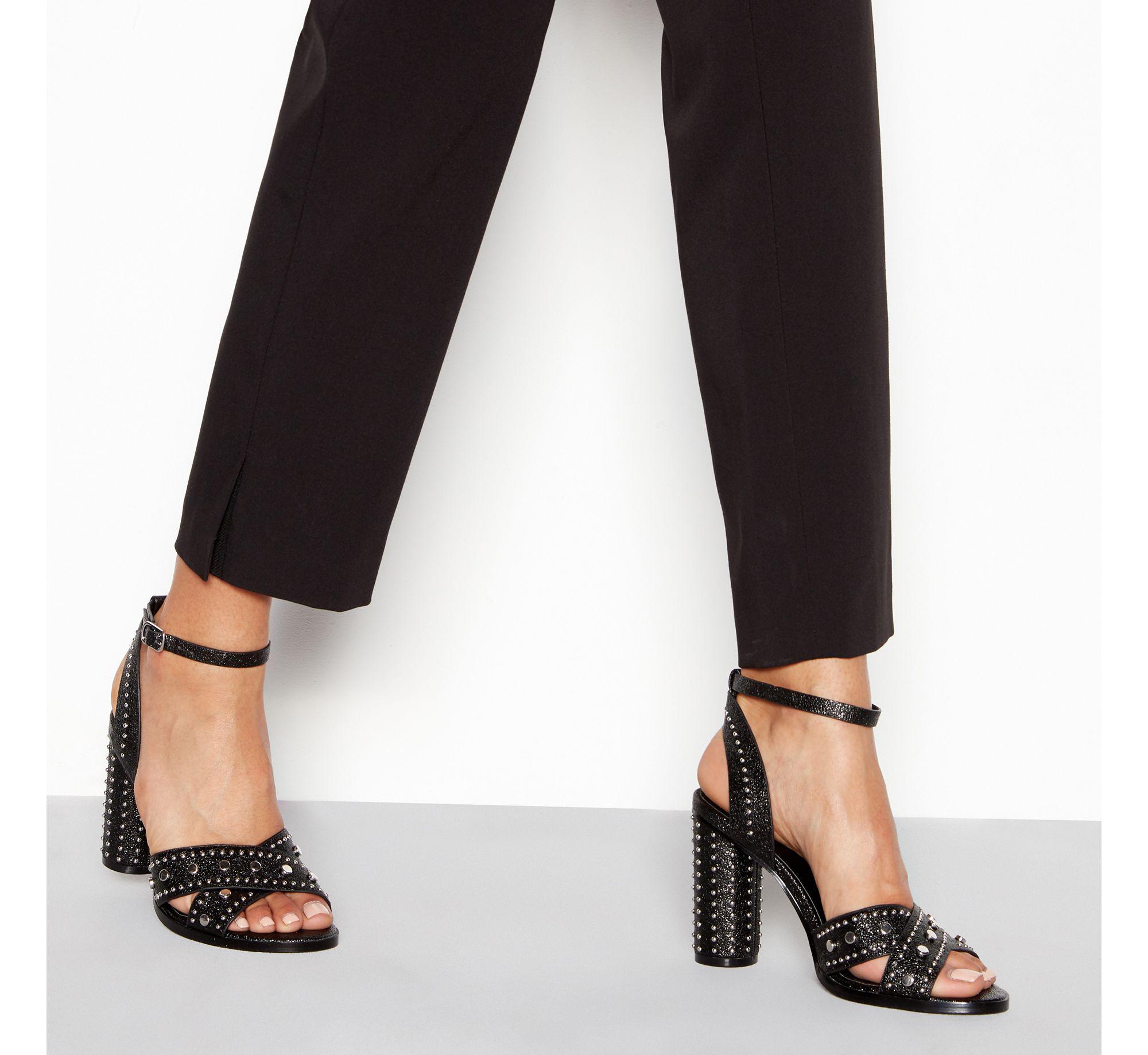 3d8ffb03c6e Faith Black Stud  lynx  High Block Heel Ankle Strap Sandals in Black ...