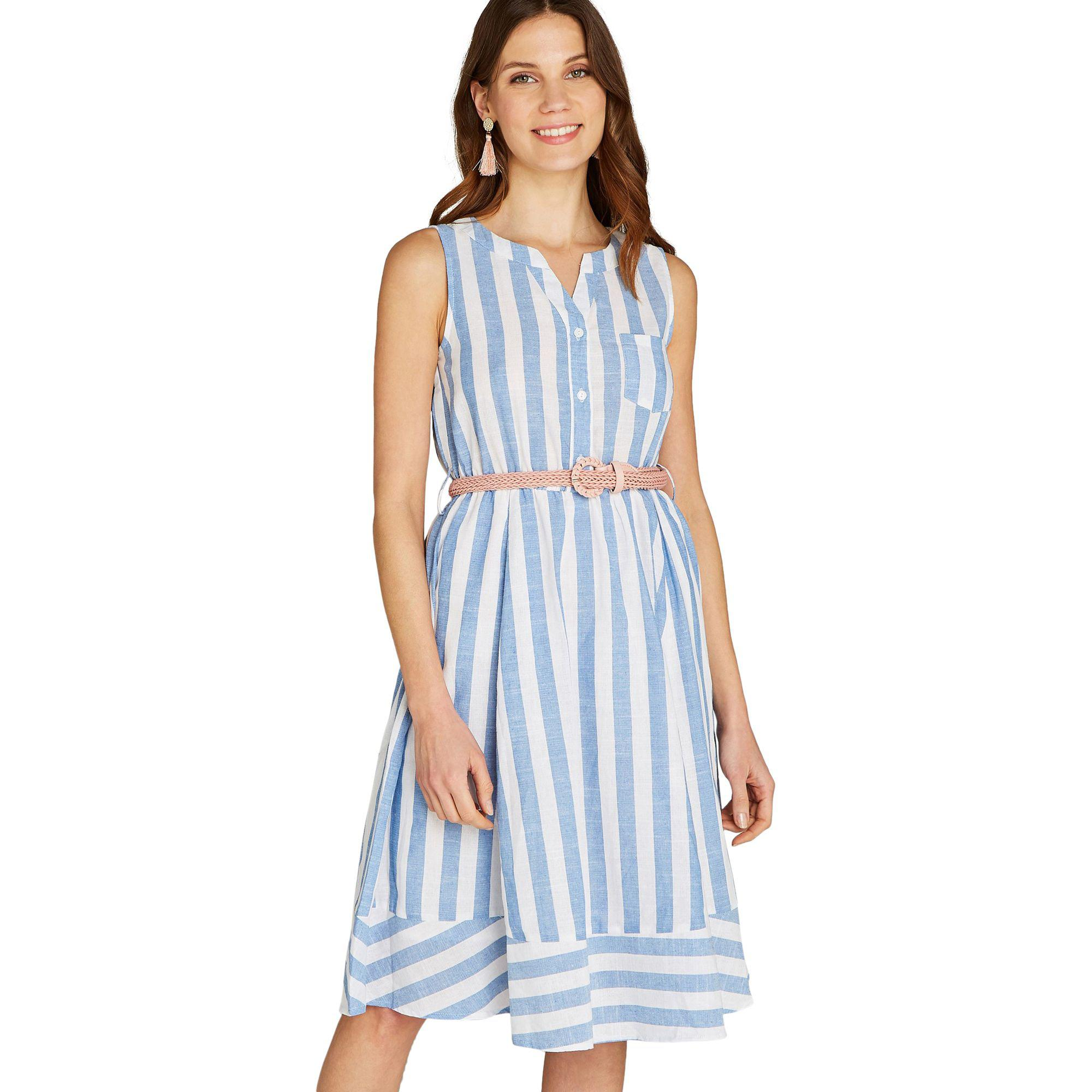 8cf334104f Apricot Blue Deckchair Stripe Print Dress in Blue - Lyst