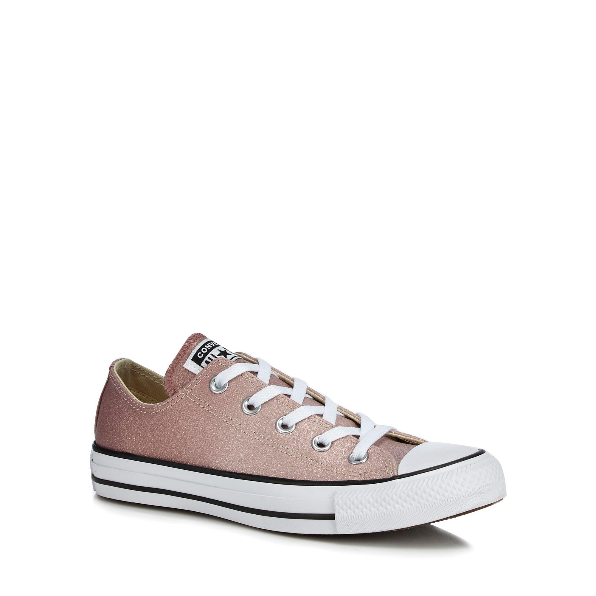 e0bd943a6141 Converse Pink Glitter  all Star Ox  Trainers in Gray - Lyst
