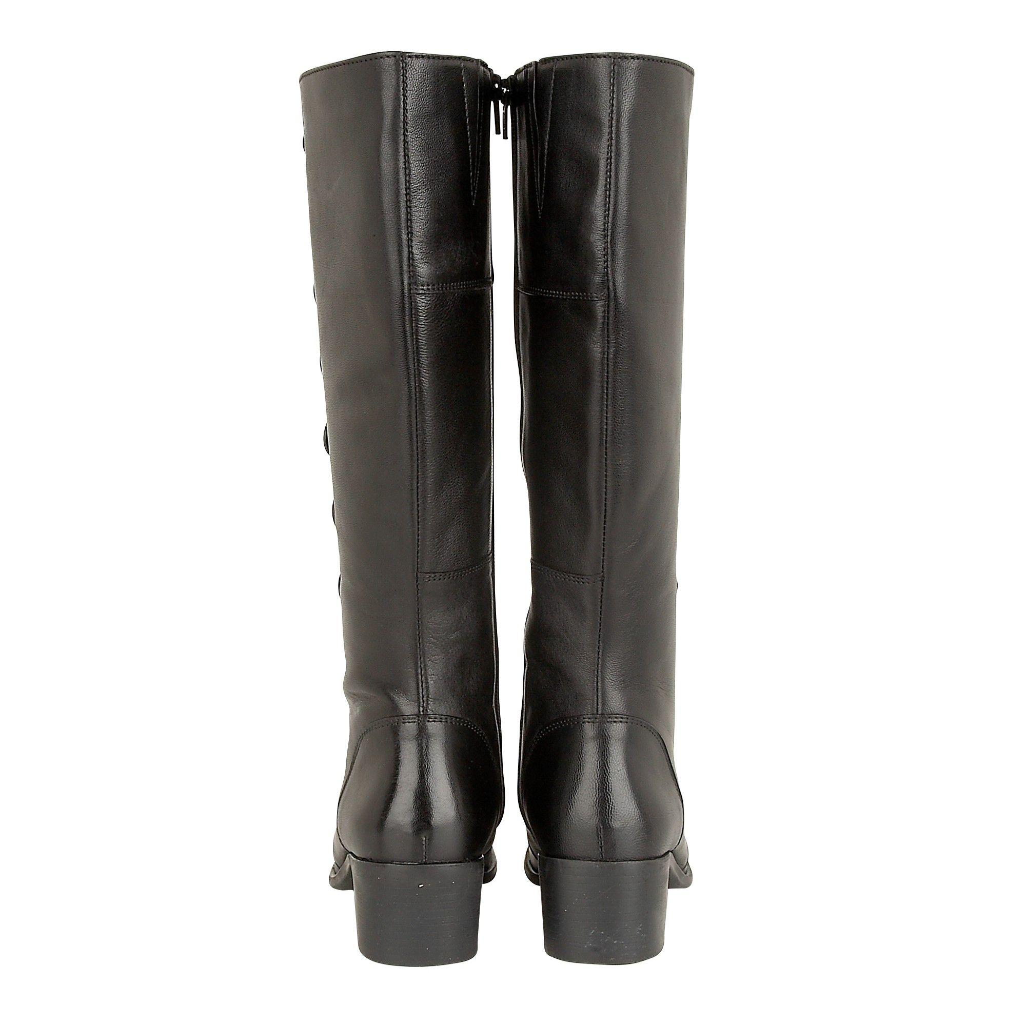 0219fe618721 Lotus Black Leather  spindle  Mid Block Heel Knee High Boots in ...