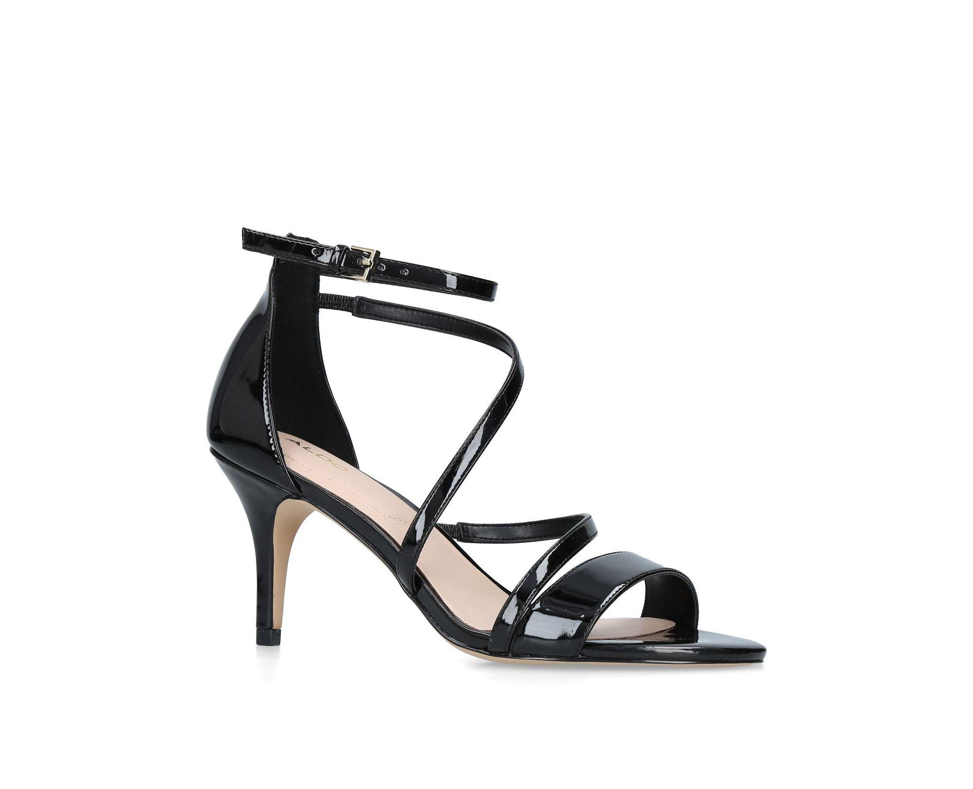 1e602f91ad9e ALDO Black  onalinia  Patent Heeled Sandals in Black - Lyst