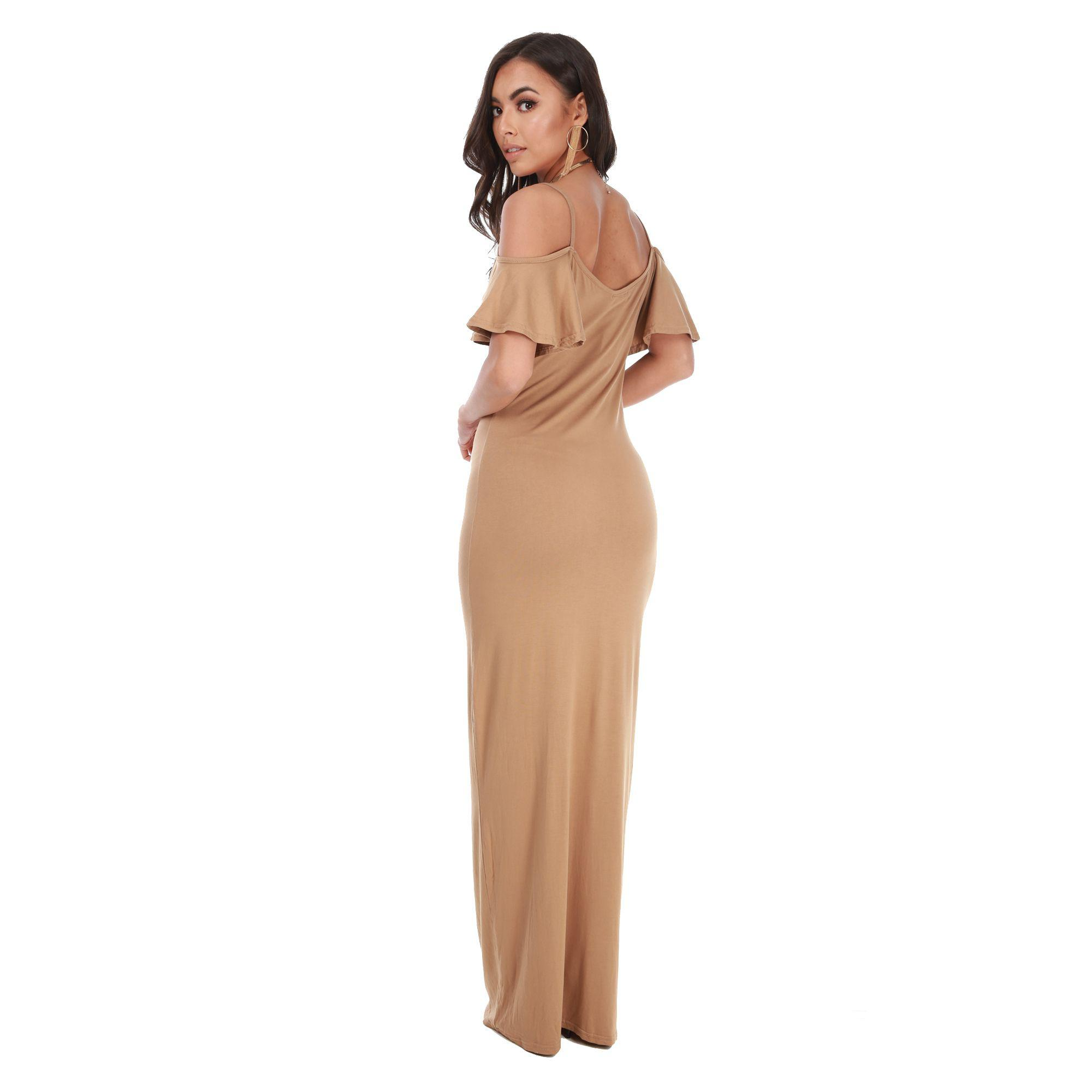 cafbb8ebf695 Be Jealous Camel Off Shoulder Maxi Dress in Natural - Lyst