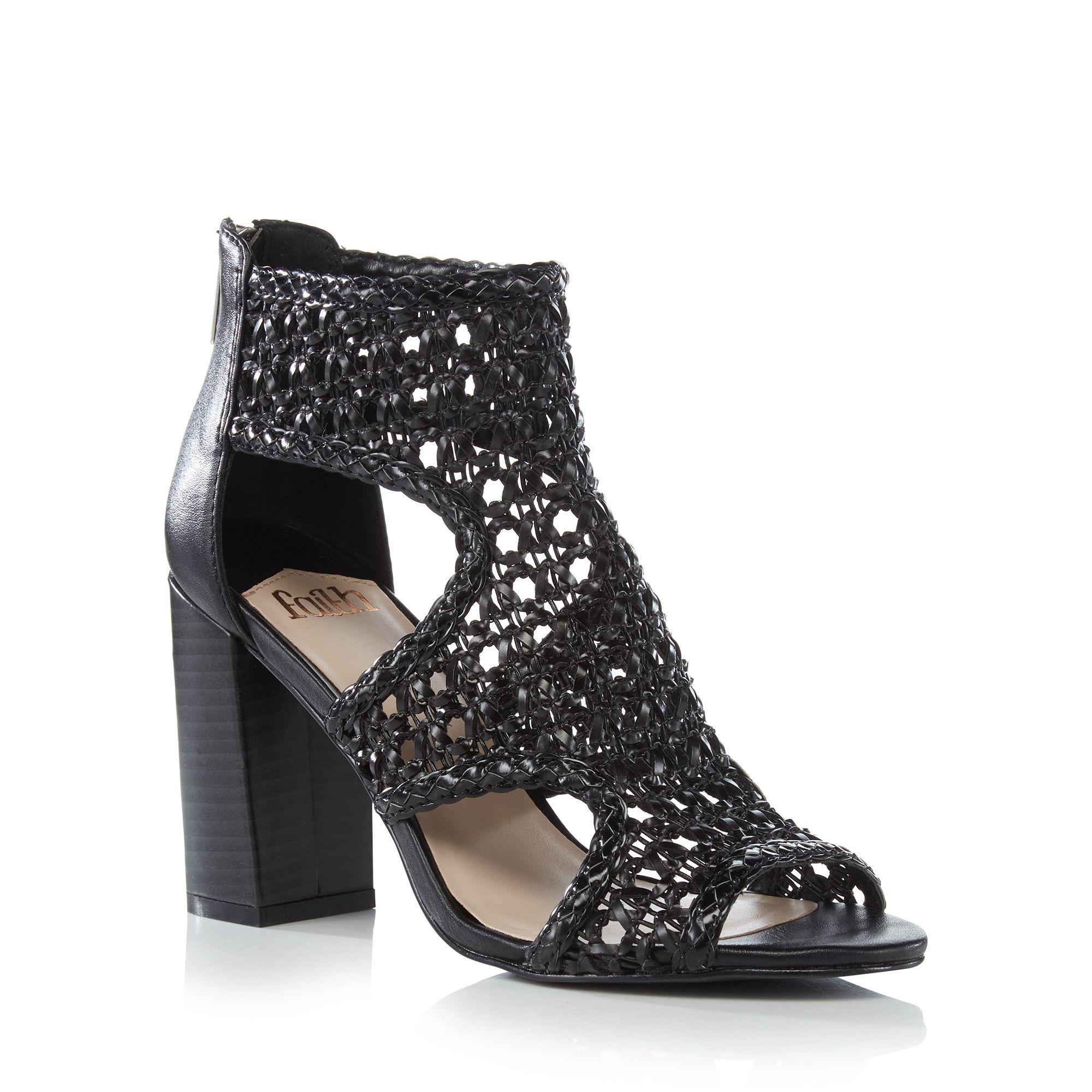 7a843de636 Faith Black Net 'leave' High Block Heel Sandals in Black - Lyst