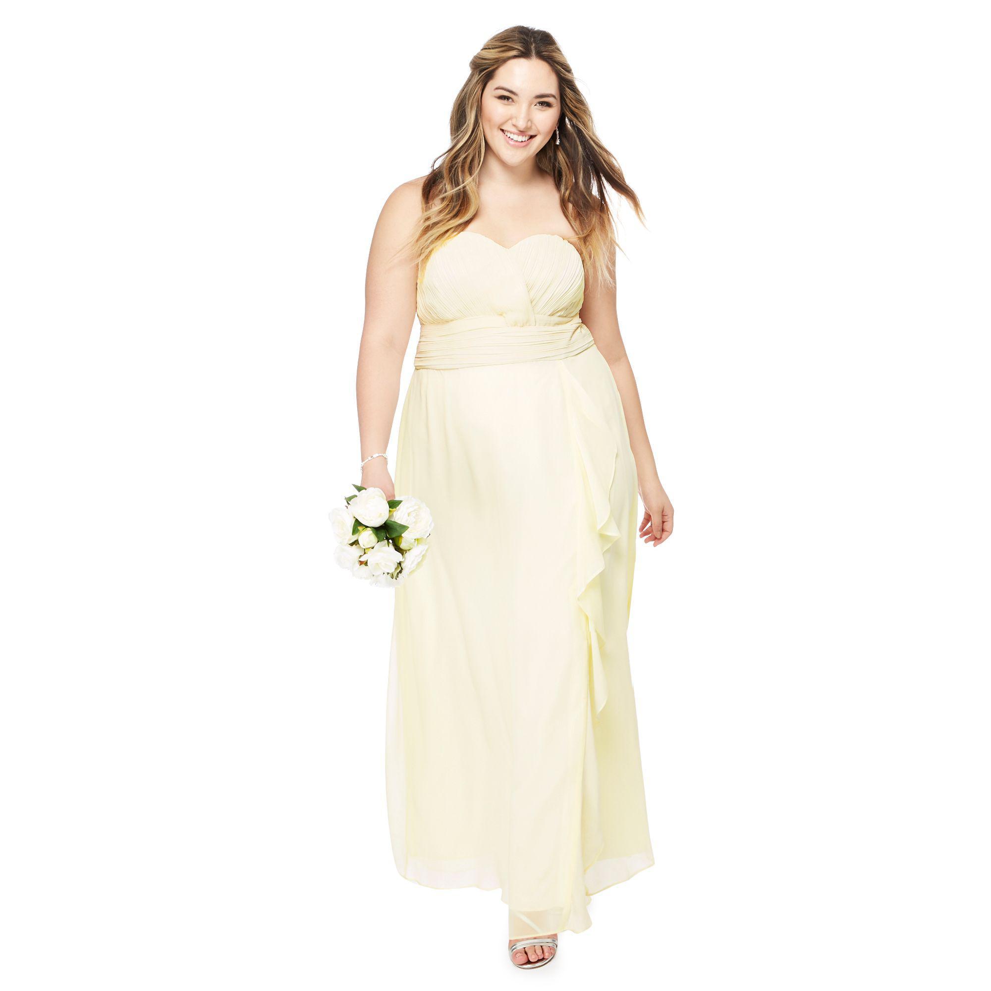 617e1a9d17 Début Yellow Chiffon 'sara' Strapless Plus Size Bridesmaid Dress in ...