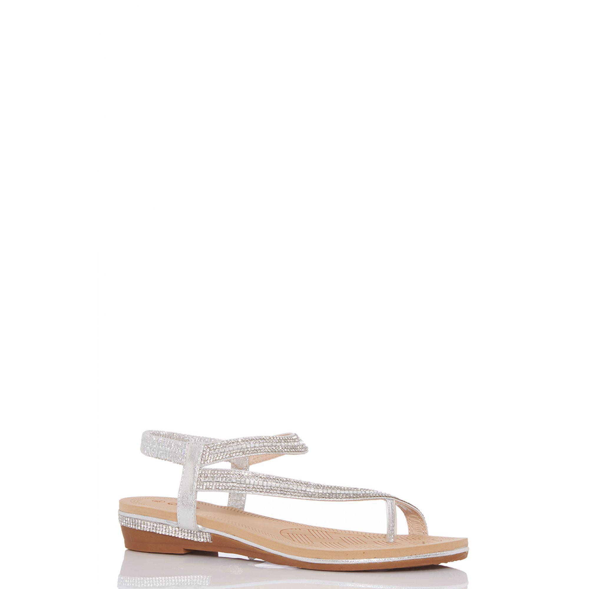db0fd237dee1 Quiz - Metallic Silver Diamante Slant Strap Flat Sandals - Lyst. View  fullscreen