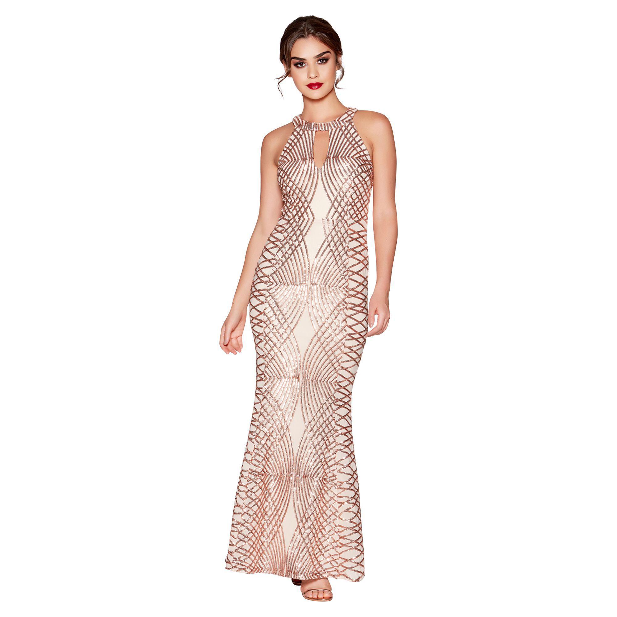 c778c450 Tap to visit site. Quiz - Metallic Rose Gold Sequin And Mesh Fishtail Maxi  Dress - Lyst