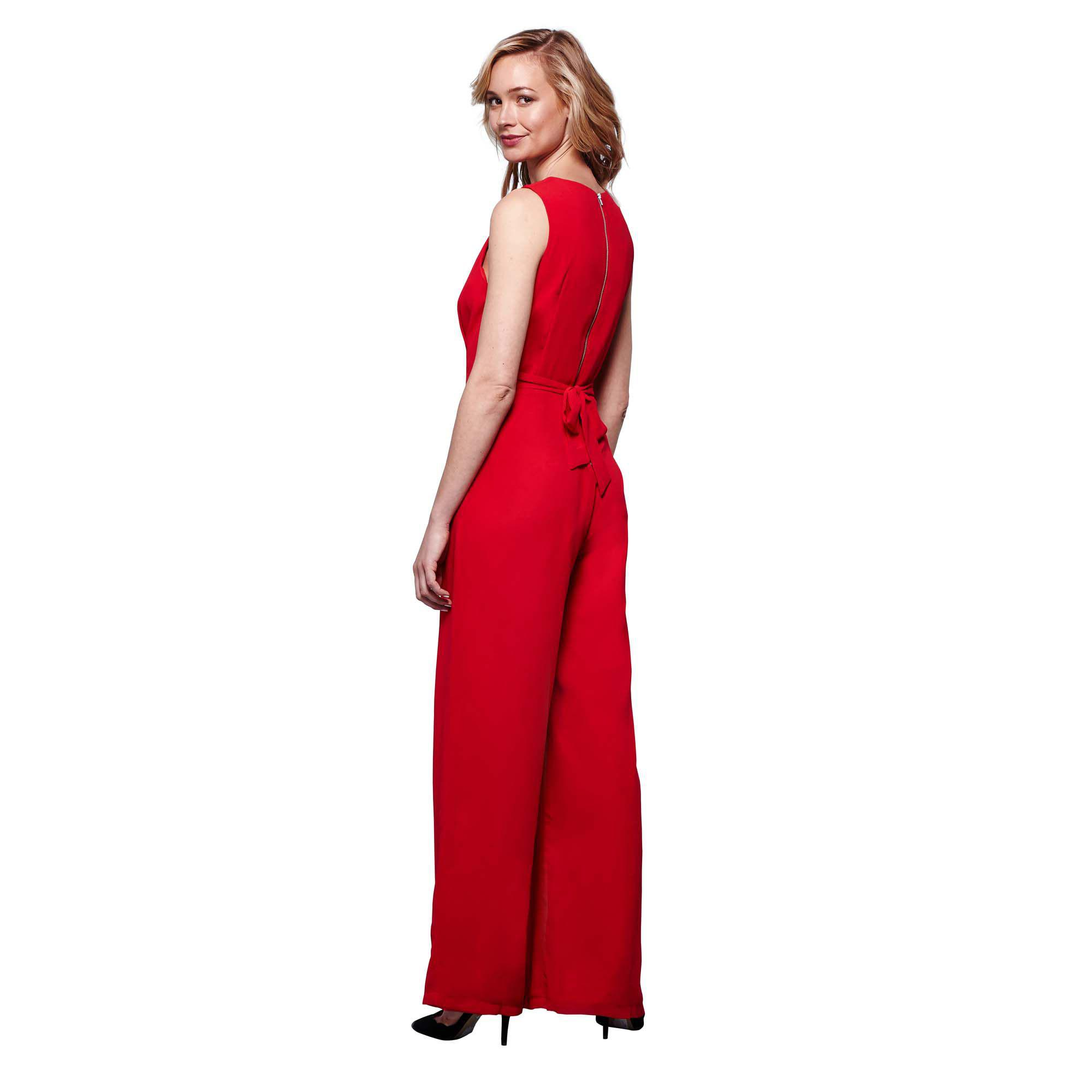 5b7fafc3a041 Yumi  Red Wide Leg V-neck Jumpsuit in Red - Lyst