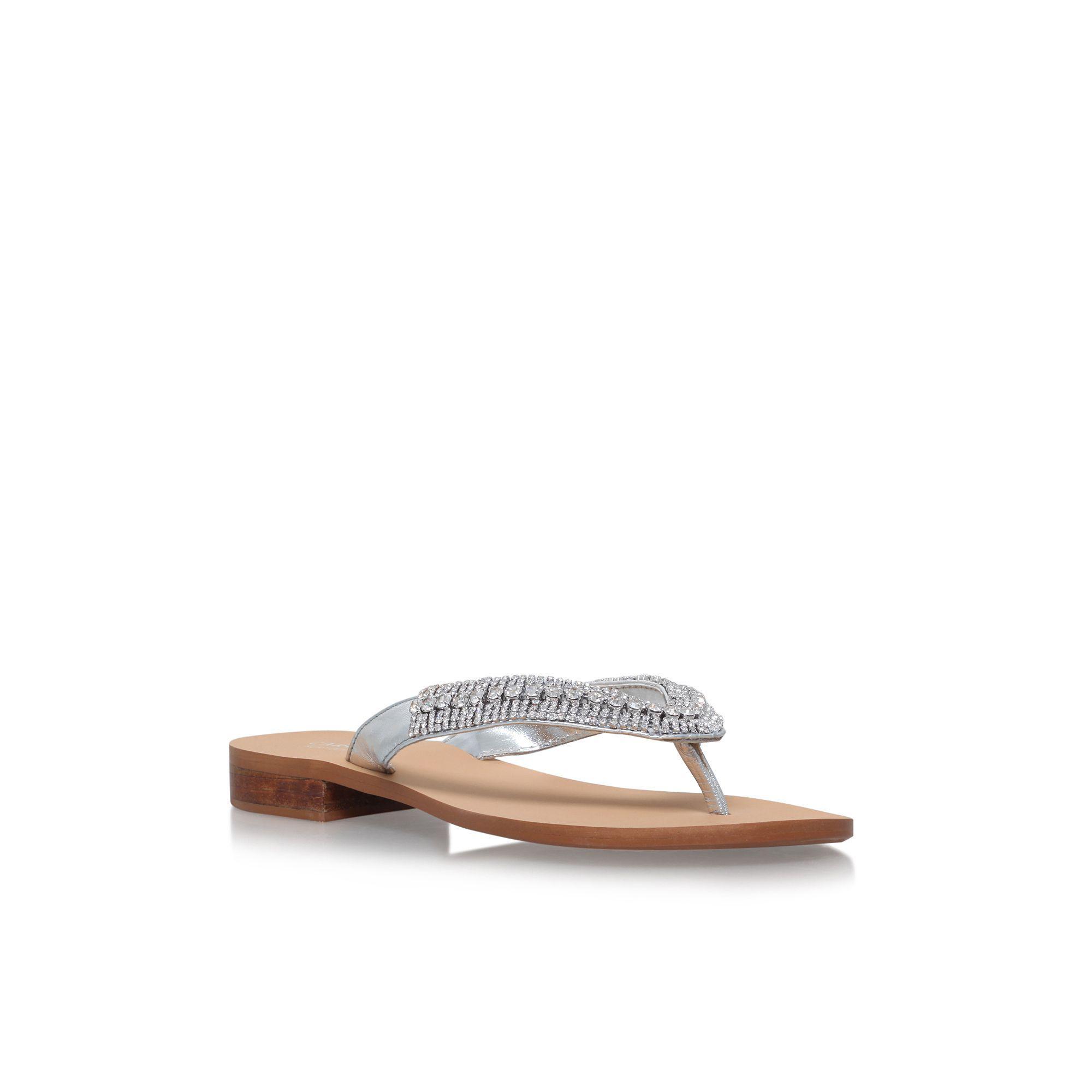 9b254e4914b Carvela Kurt Geiger Silver  breanne 2  Flat Sandals in Metallic - Lyst