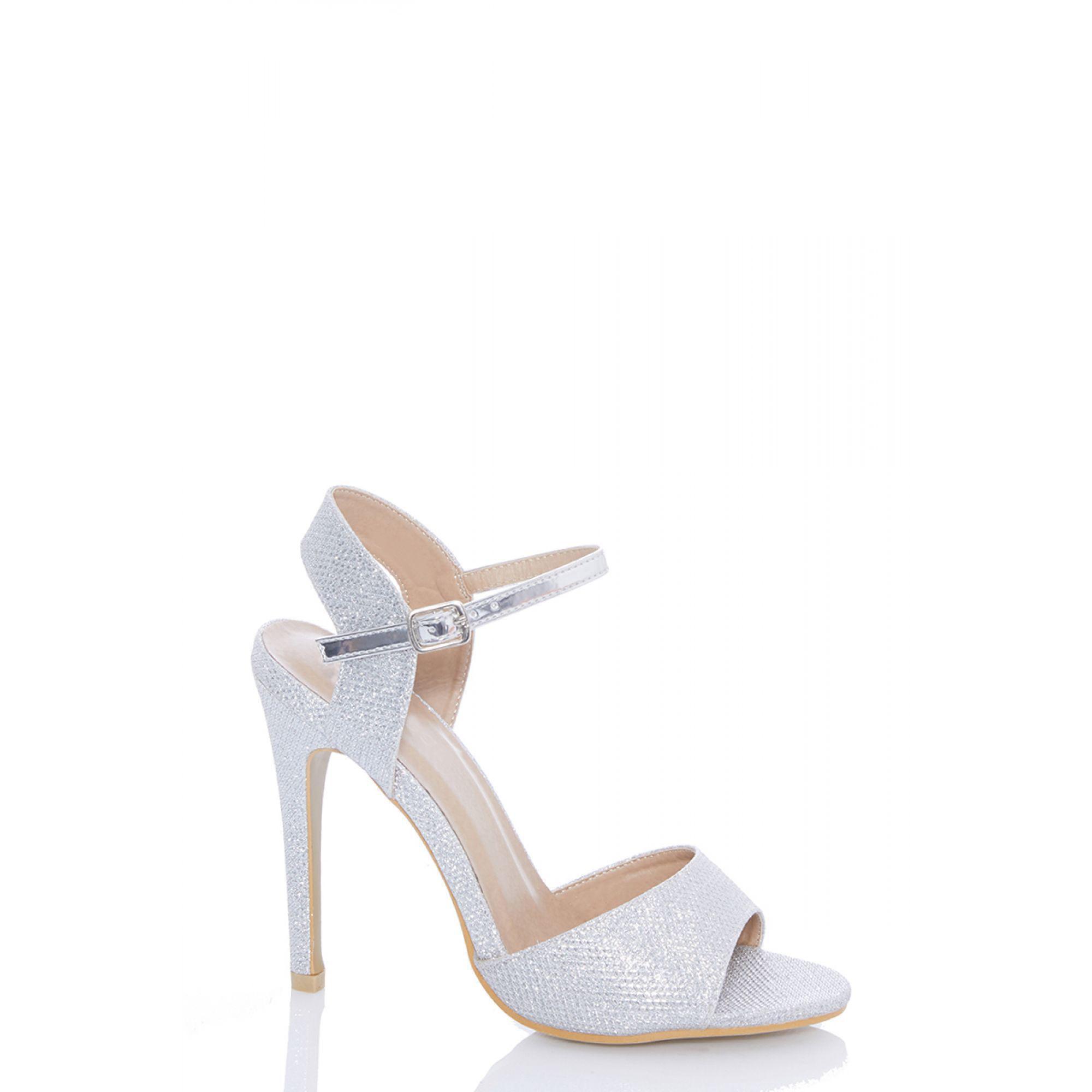 64d4424e936 Quiz Silver Shimmer Stiletto Heel Sandals in Metallic - Lyst