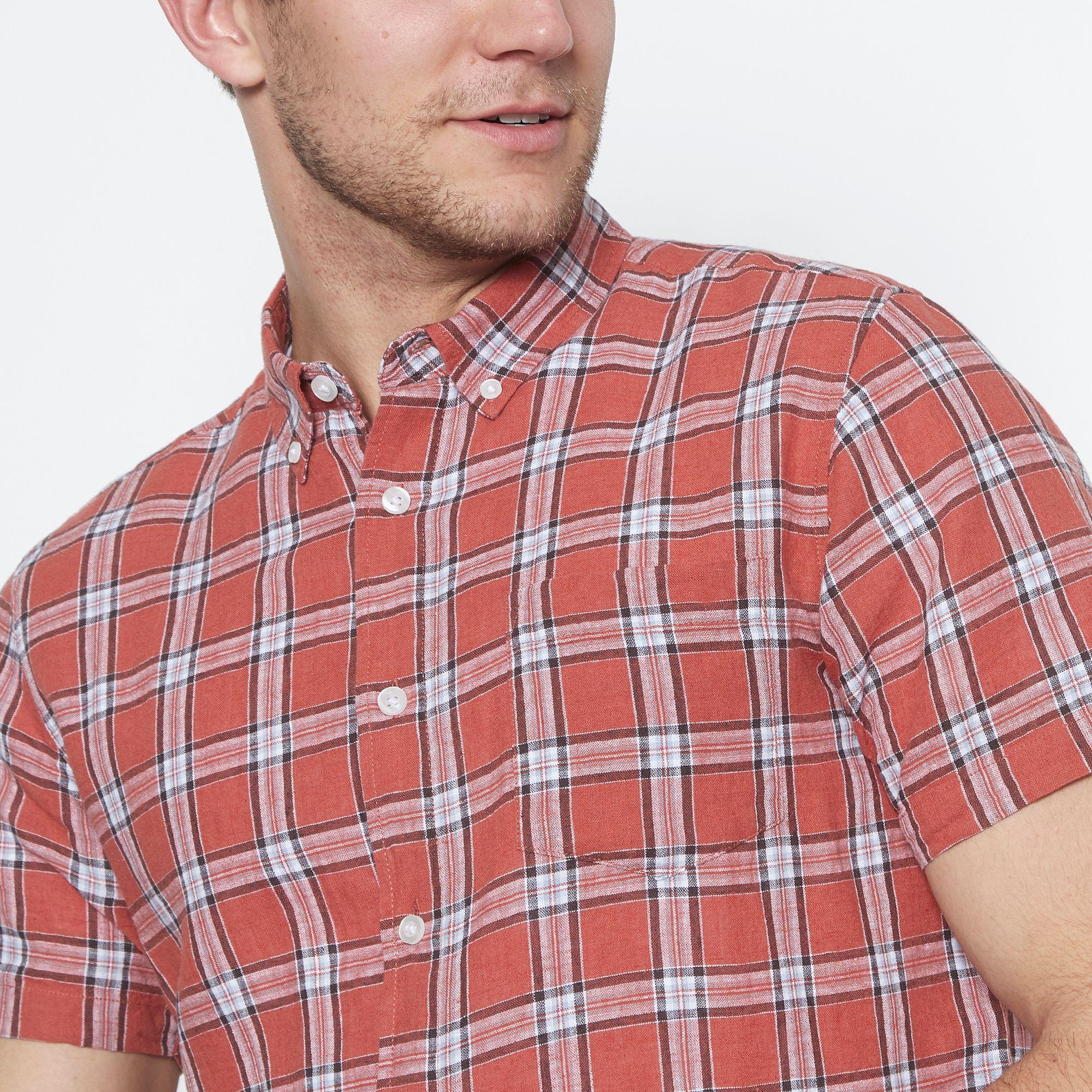 91e41e037 Jacamo - Red Checked Short Sleeve Regular Fit Linen Blend Shirt for Men -  Lyst. View fullscreen