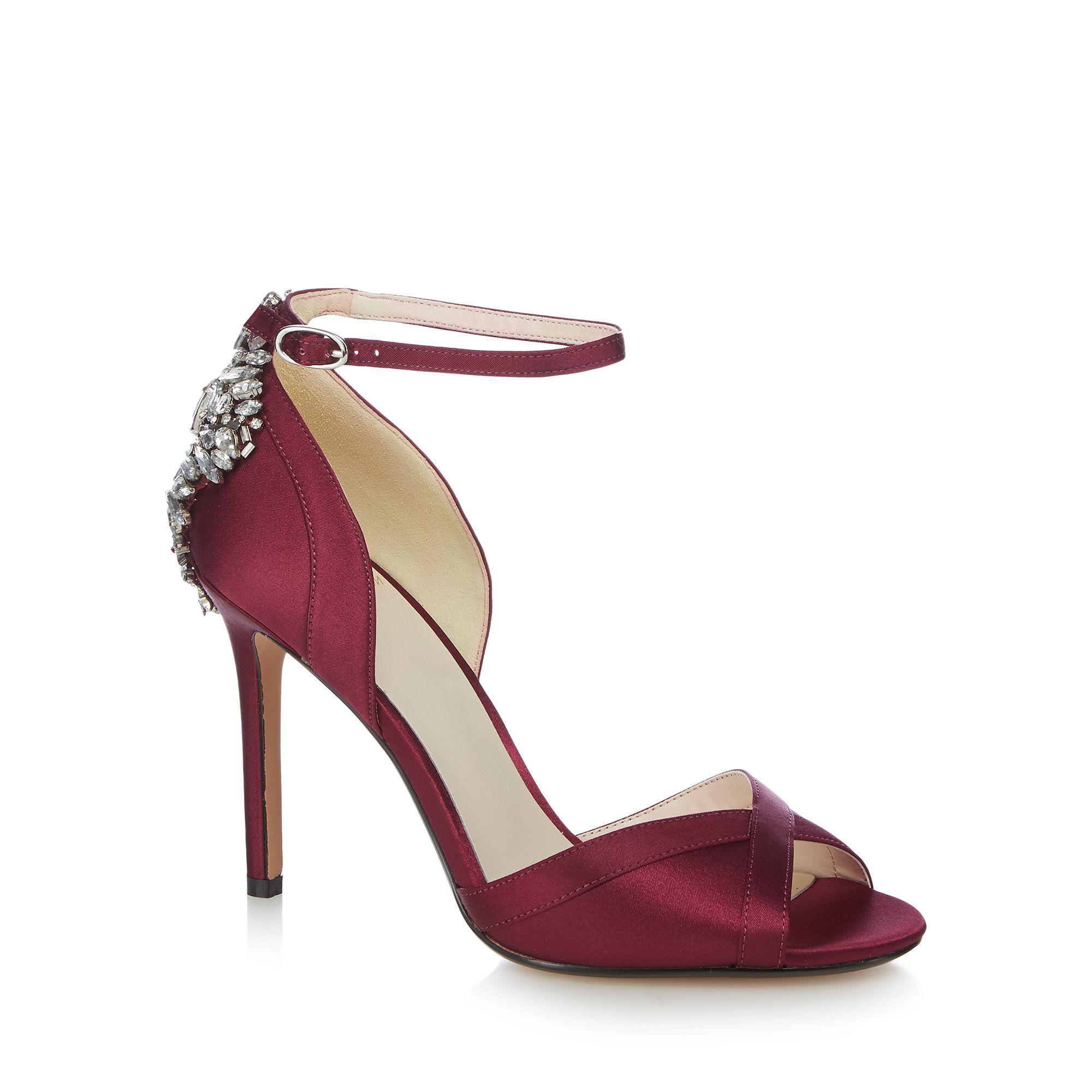 4c3c518cadc Jenny Packham Burgundy  picnic  High Stiletto Heel Ankle Strap ...