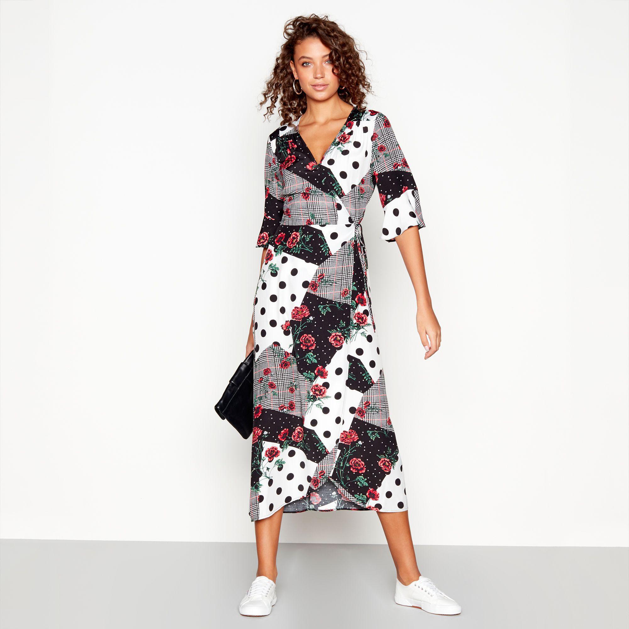 f3edd5ee4ae Red Herring Multi-coloured Spliced Print V-neck Midi Wrap Dress - Lyst